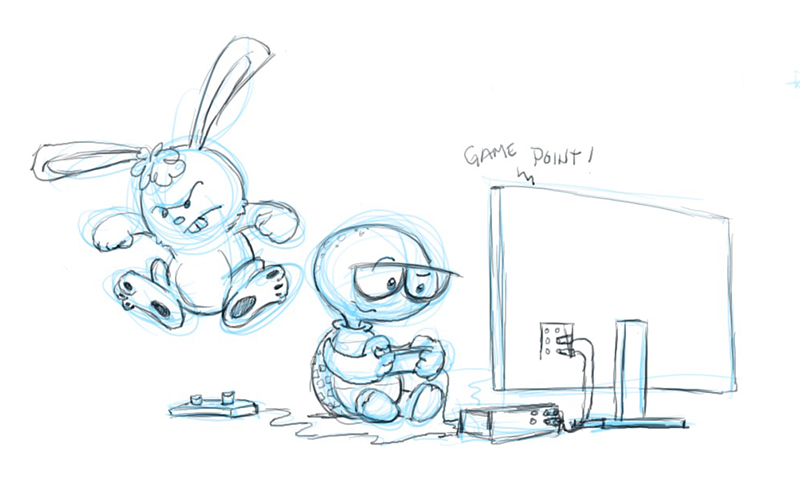 Mitchell and Bunnie play video games