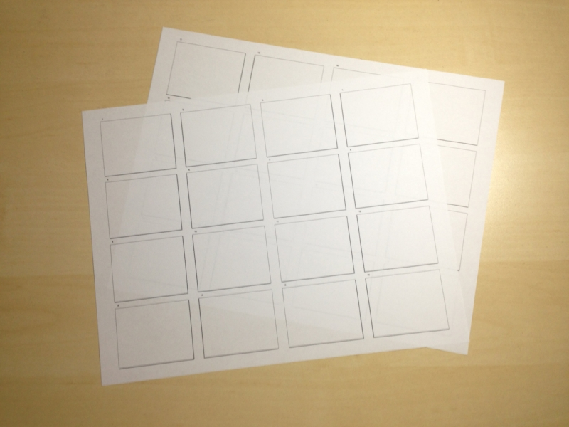 Blank document printed out for doing initial thumbnail sketching.