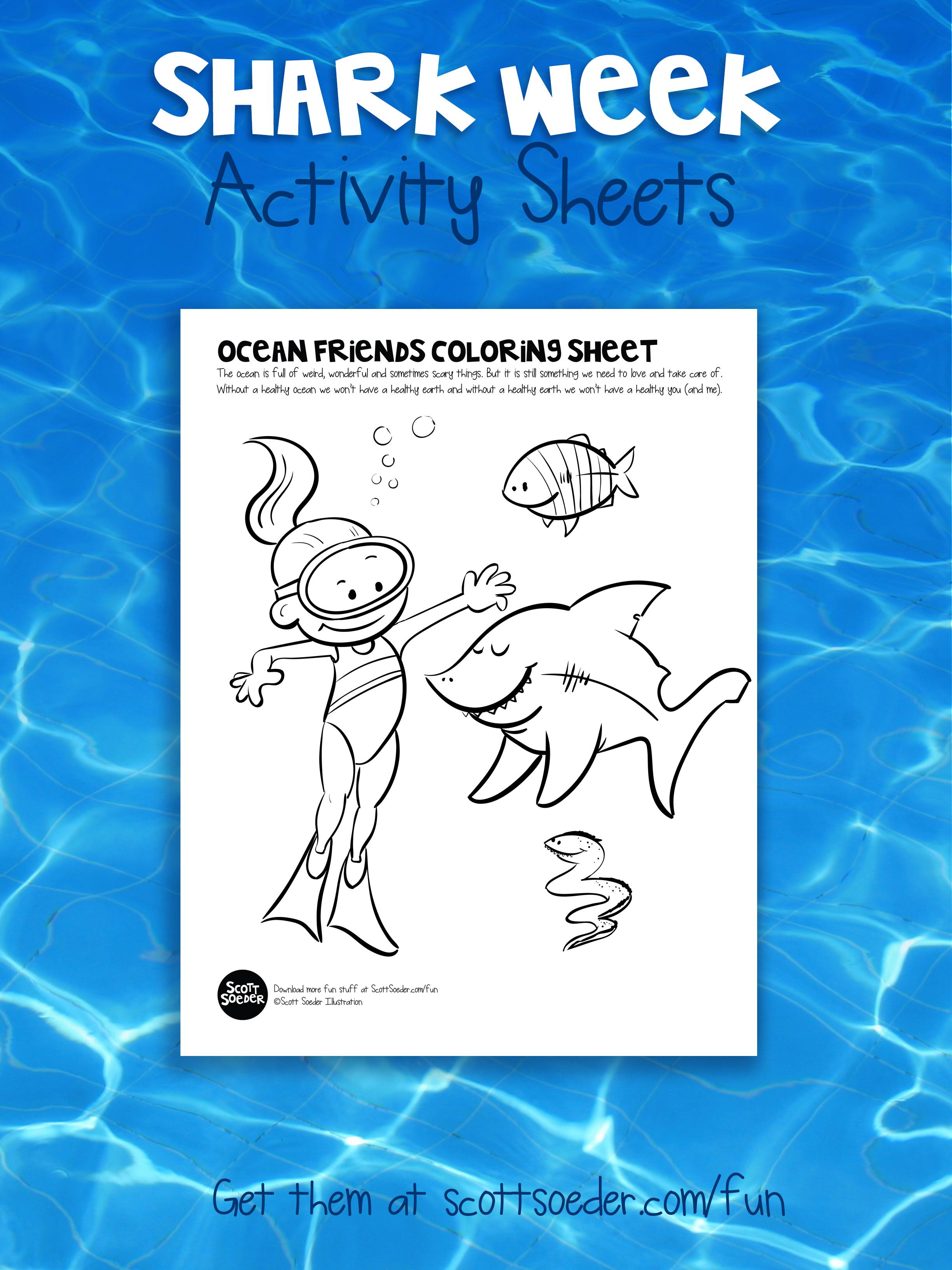 Shark Week Coloring Activity Sheet