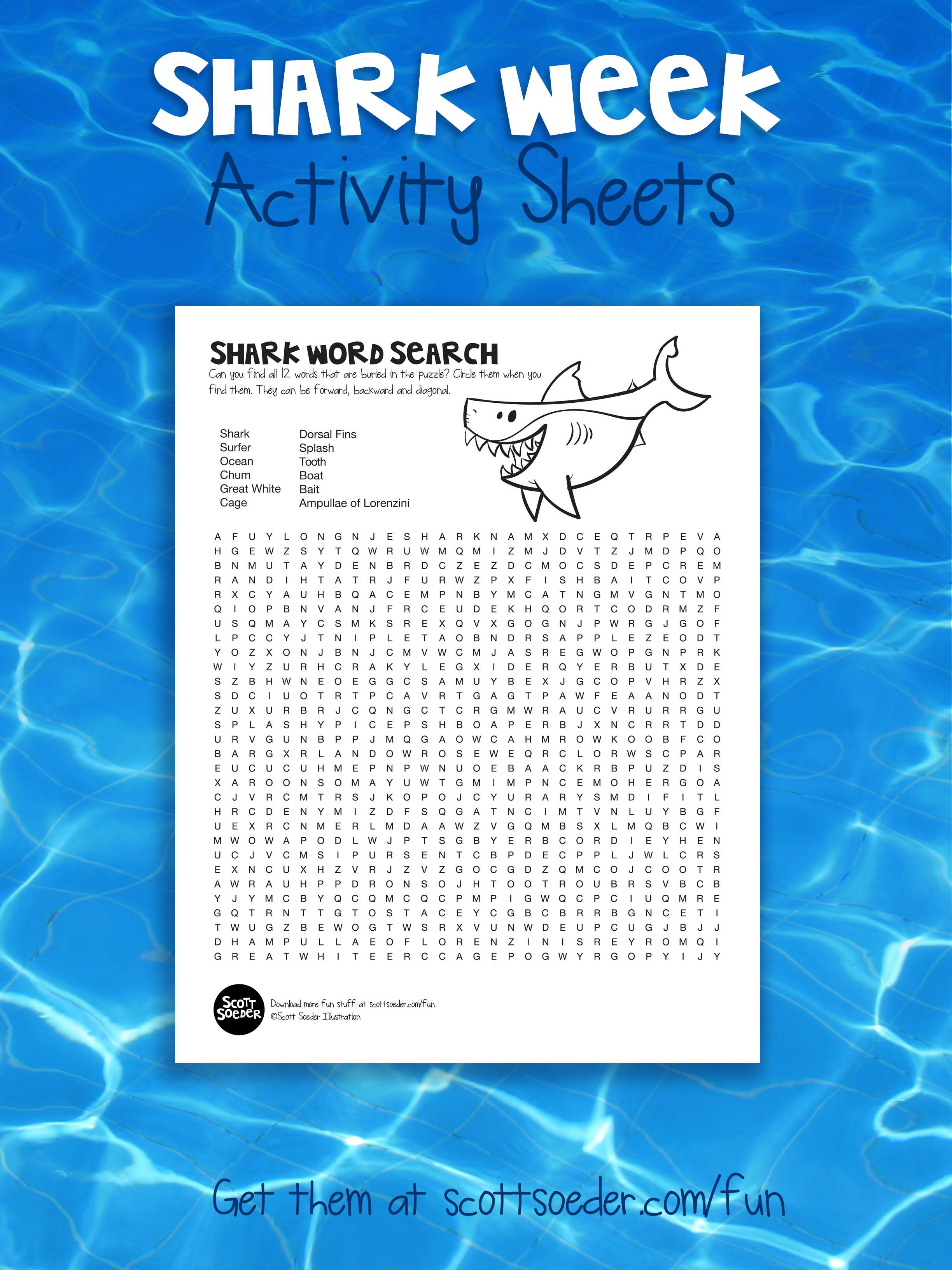 Shark Week Word Search Activity Sheet