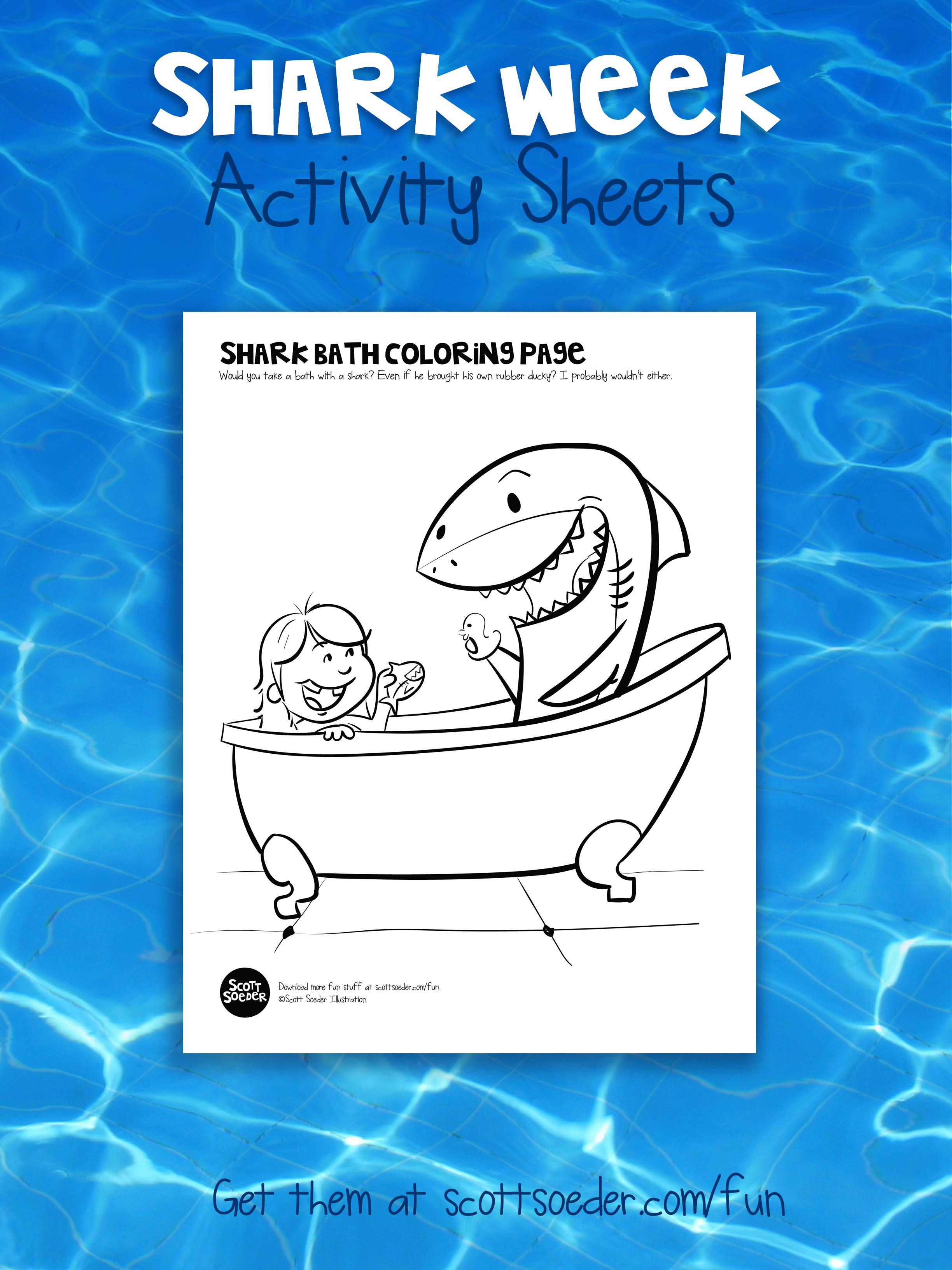 Shark Week Coloring Page Activity Sheet