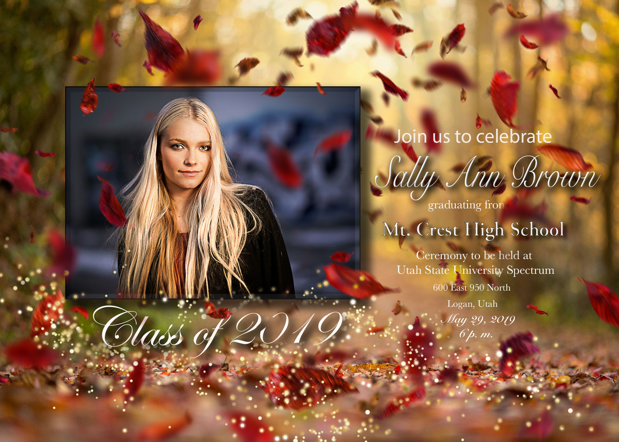 11. Single sided announcement   The glitter and falling leaves can be removed if desired. Just let me know. This is a 5X7 announcement.