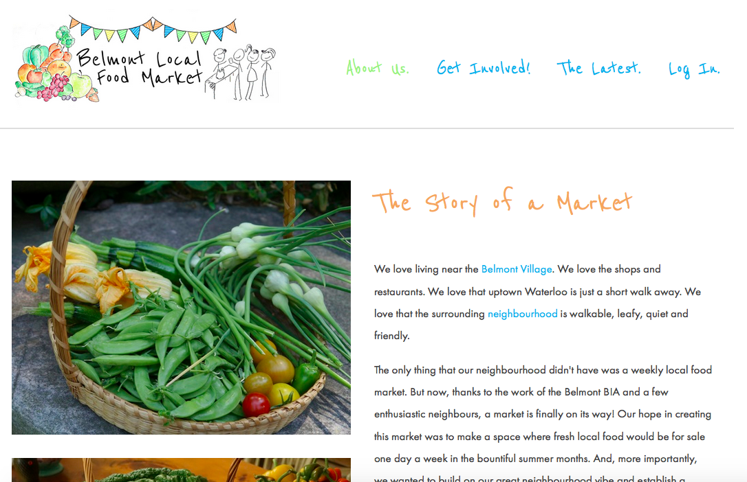 Website for a community-based local market.