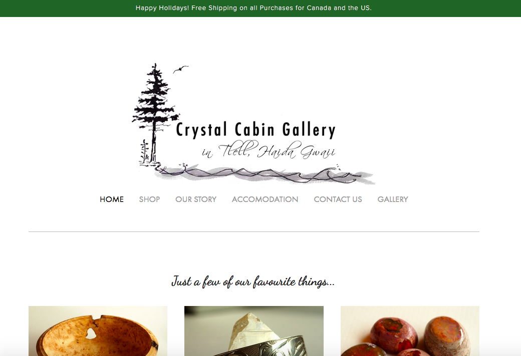 Website for a gallery and shop. Includes online shopping options.