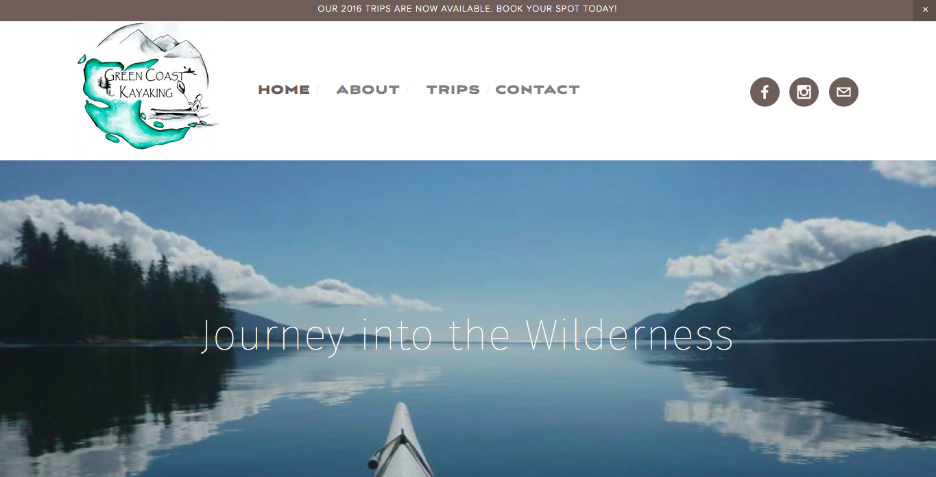 Website for a kayaking company, offering week-long trips through Gwaii Haanas. Includes e-commerce for bookings.