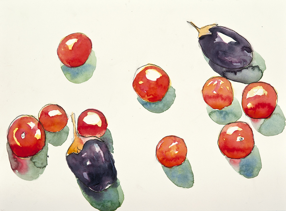 Still Life Tomatoes Eggplant