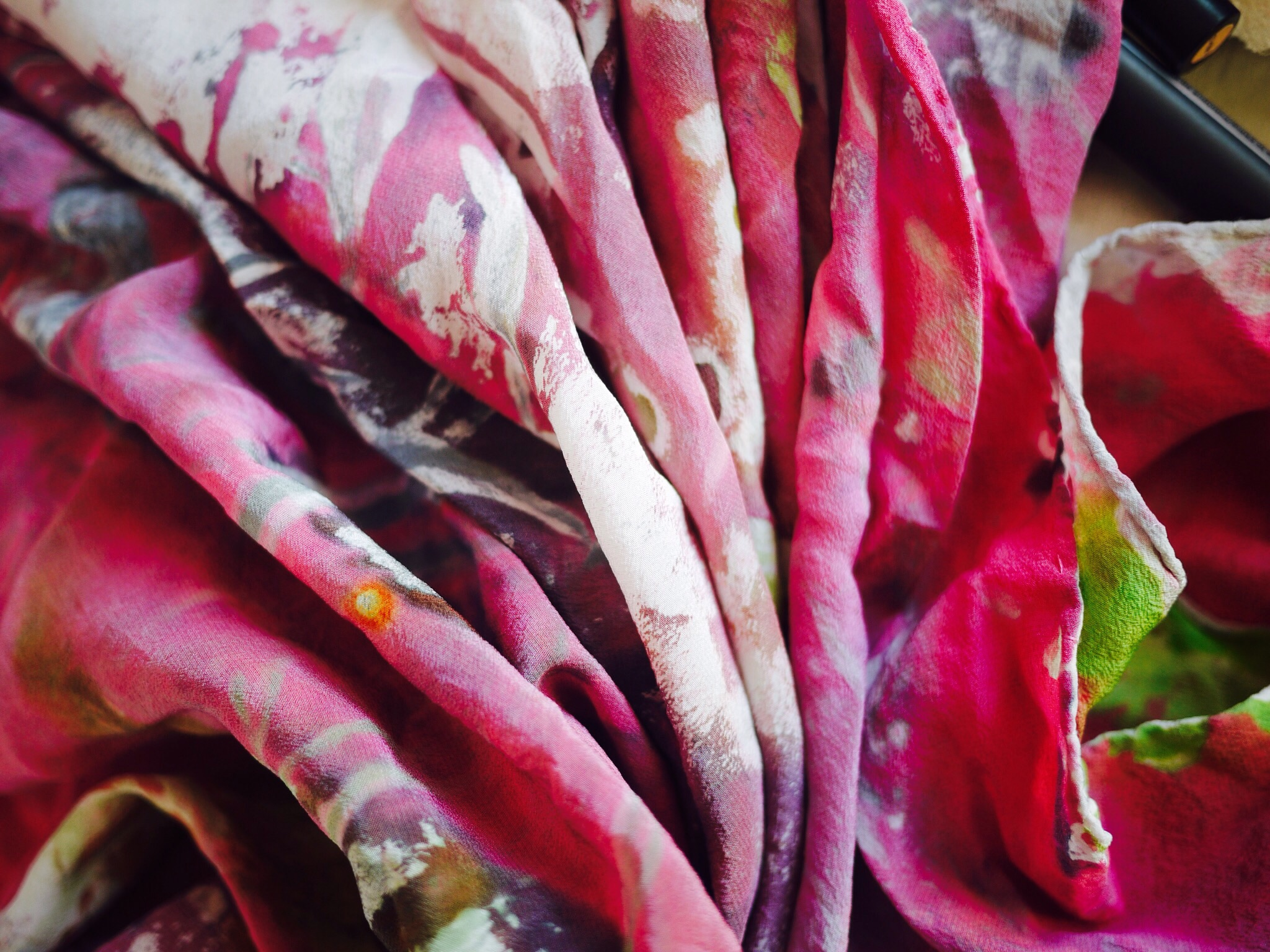 detail of silk crepe scarf