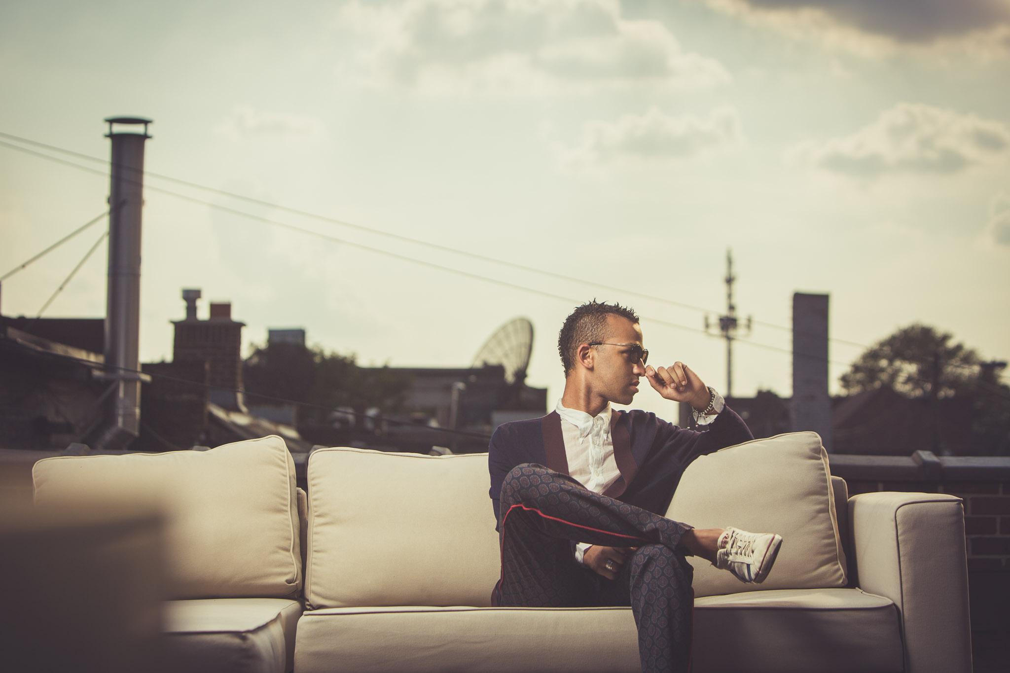 Shot on the roof of Studio 1176  wearing Dries Van Noten head-to-toe and sunglasses by Linda Farrow for Dries Van Noten