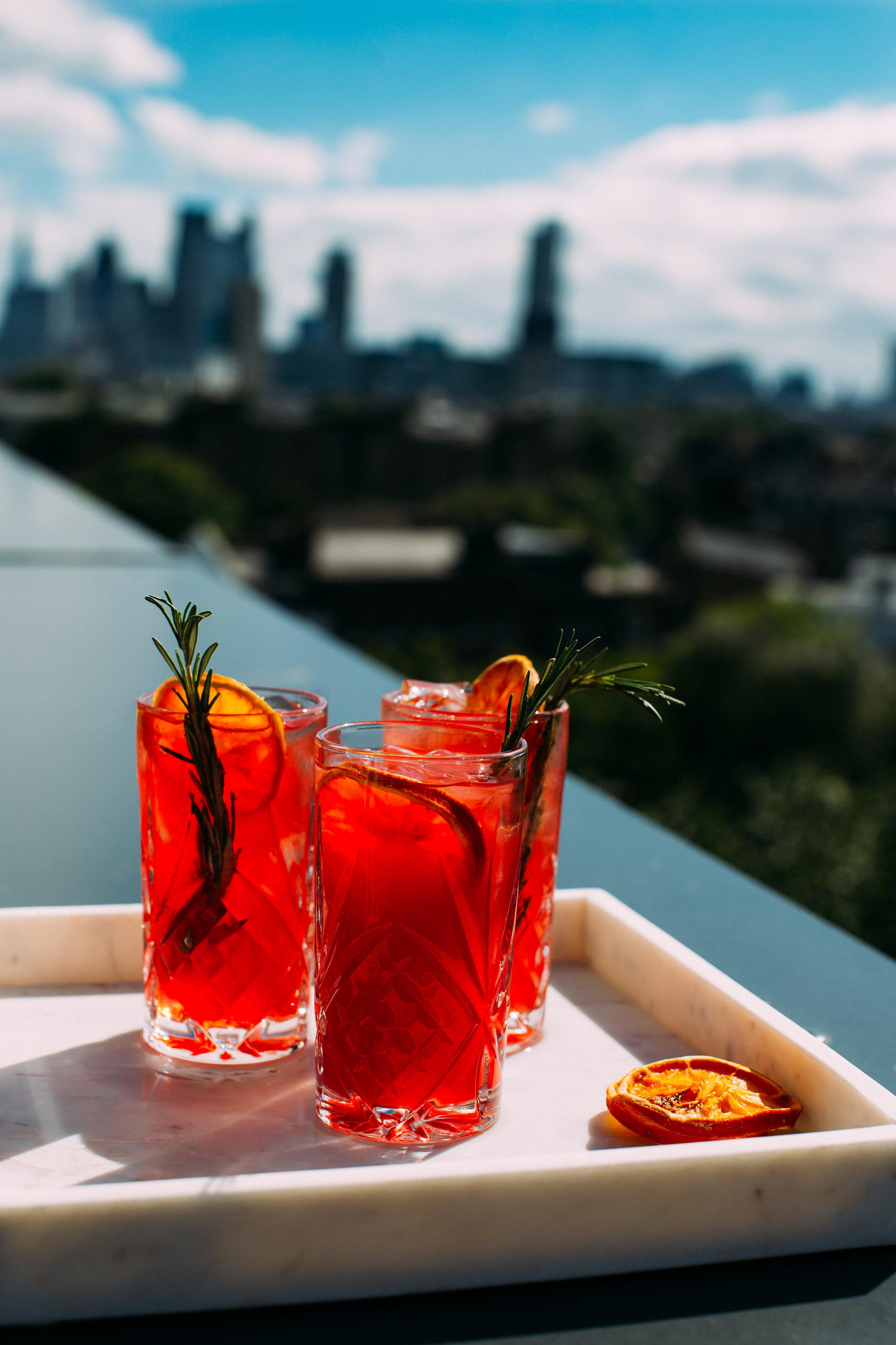 a Zesty Summer Cocktail - Campari and Blood Orange Spritzwith Coriander and Orange Blossom.