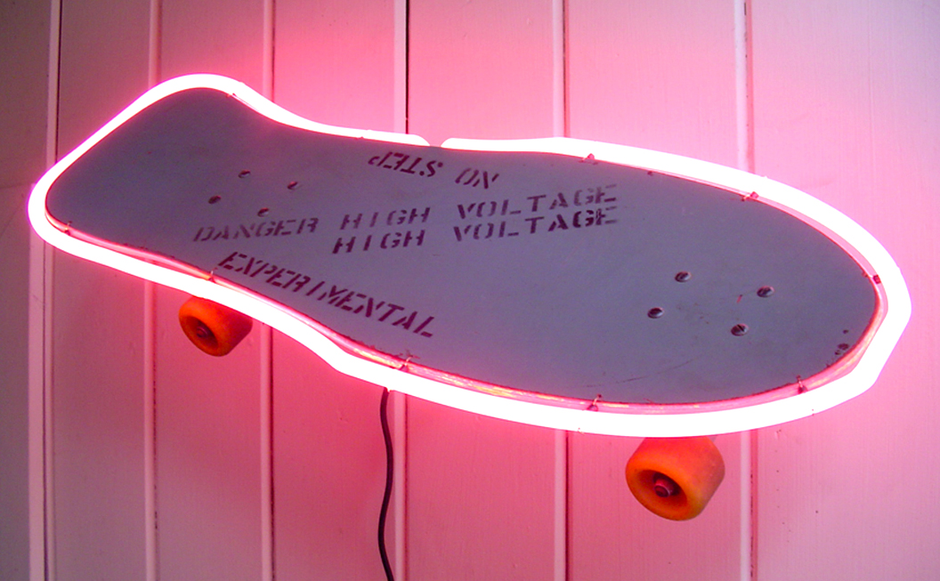 We made this neon skateboard for the late, great Fausto Vittello of Thrasher Magazine in San Francisco.