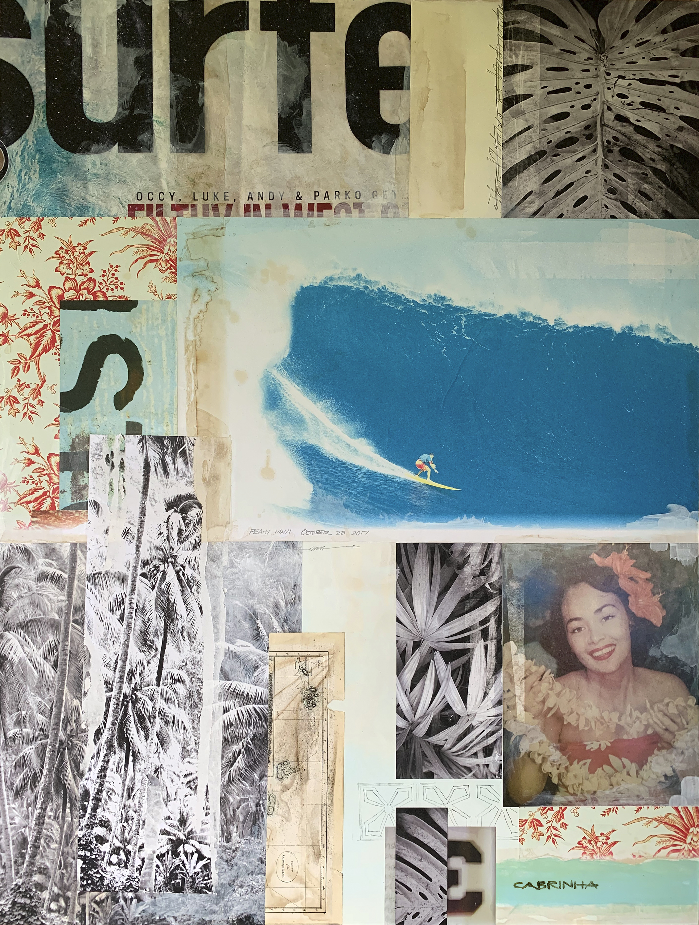 Peahi Proper, 36 x 48 Mixed Media collage on wood panel.