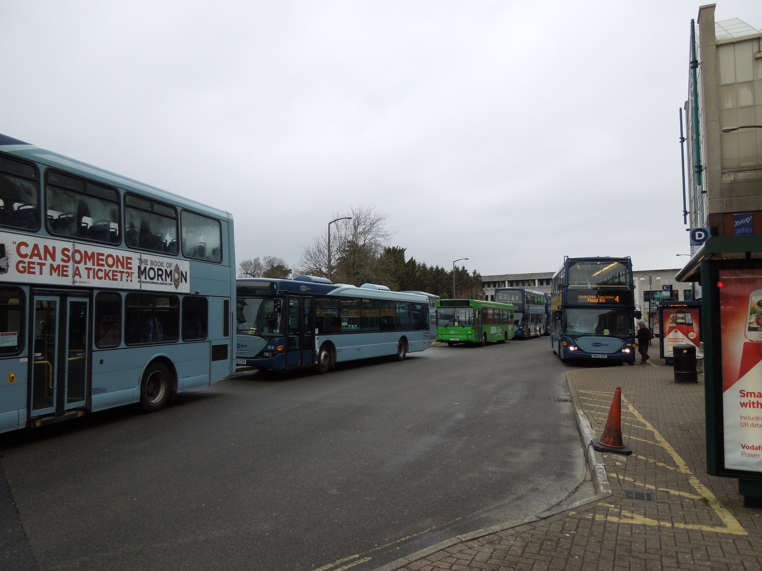 Crawley city center bus stop