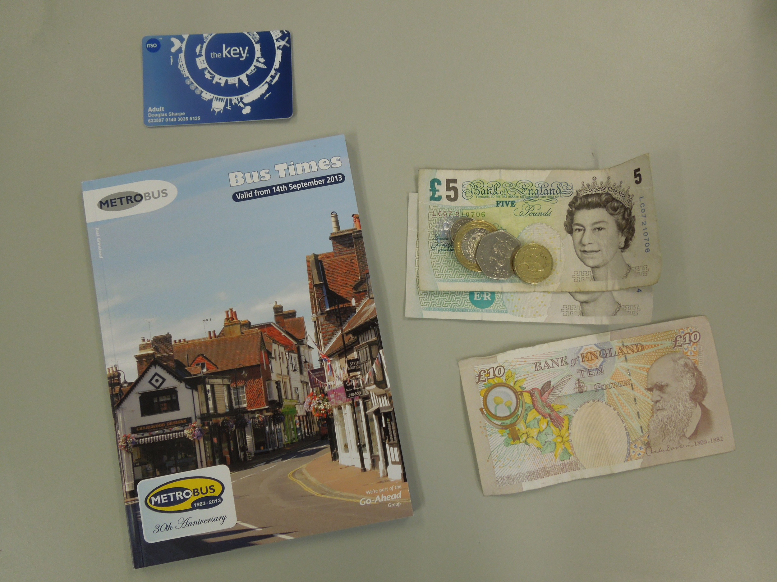 """Got my bus pass, local currency (£23.70 is about $39.50), and a route (don't you dare pronounce it """"root"""") guide"""