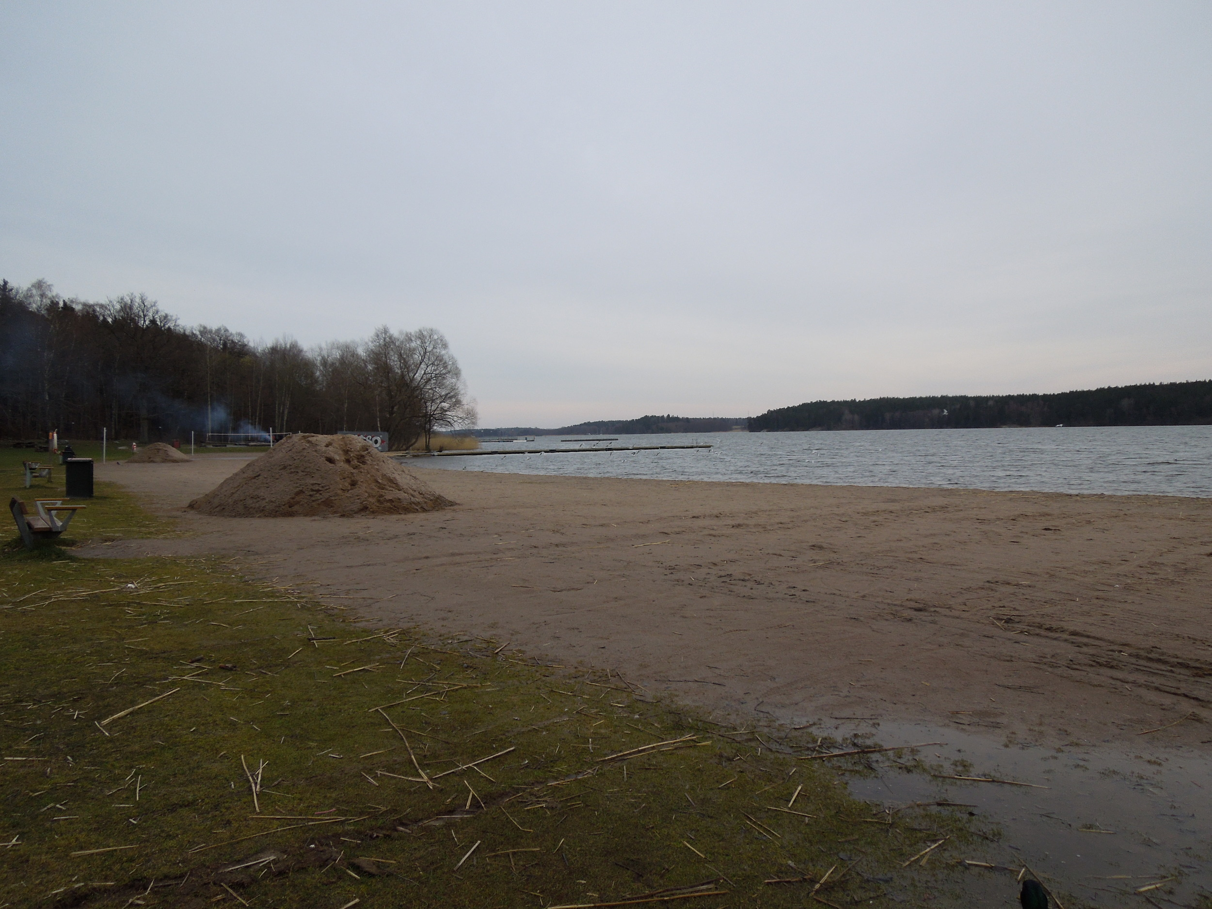 A beach area, it was really cold!