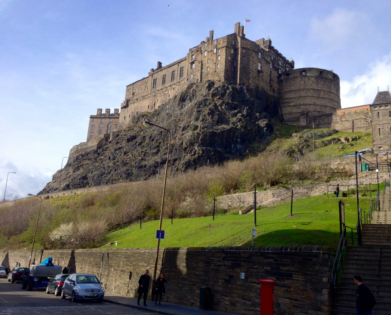 Edinburgh Castle, as seen just below Castle Rock Hostel