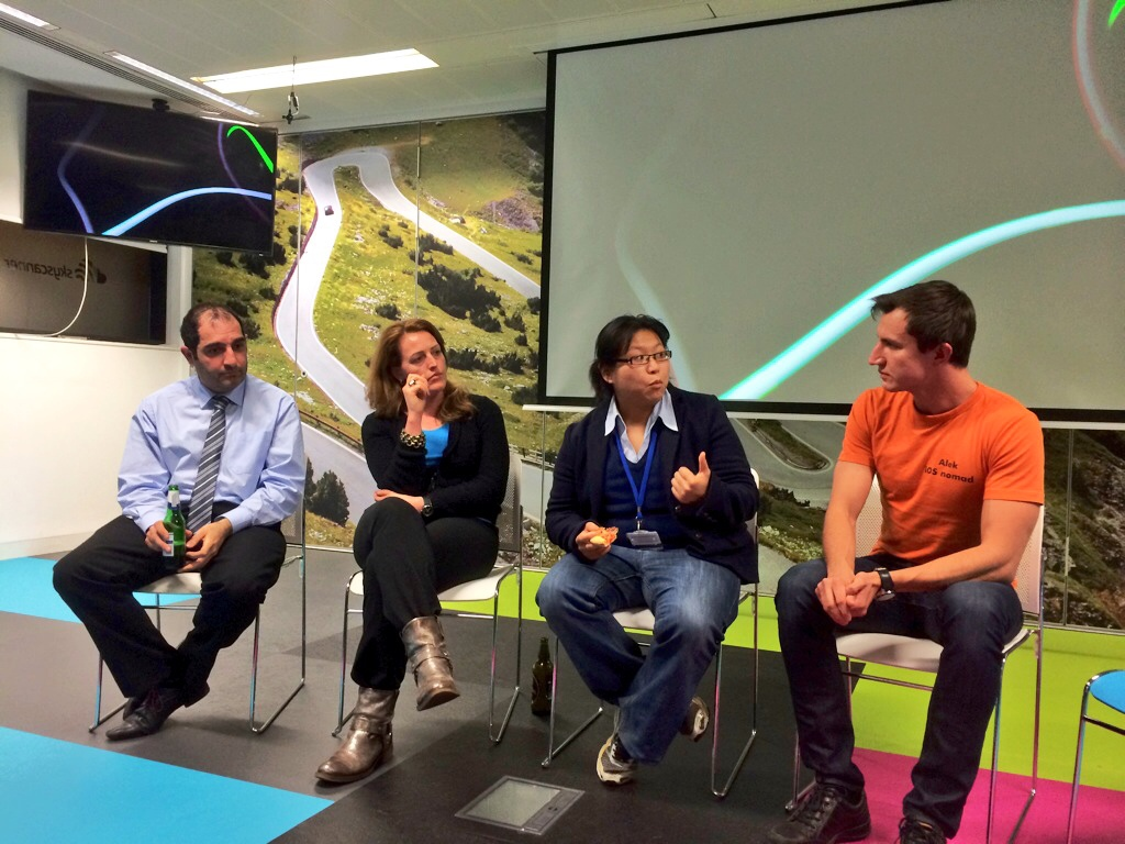 Debate panel at the Product Tank meetup in Edinburgh, me on the right
