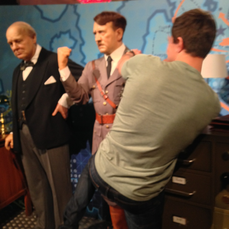 Kneeing Adolf in the nuts at Madame Tussauds, London