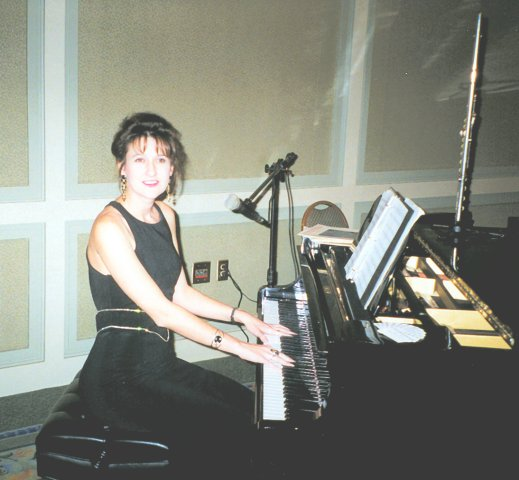 Amy plays at a company event