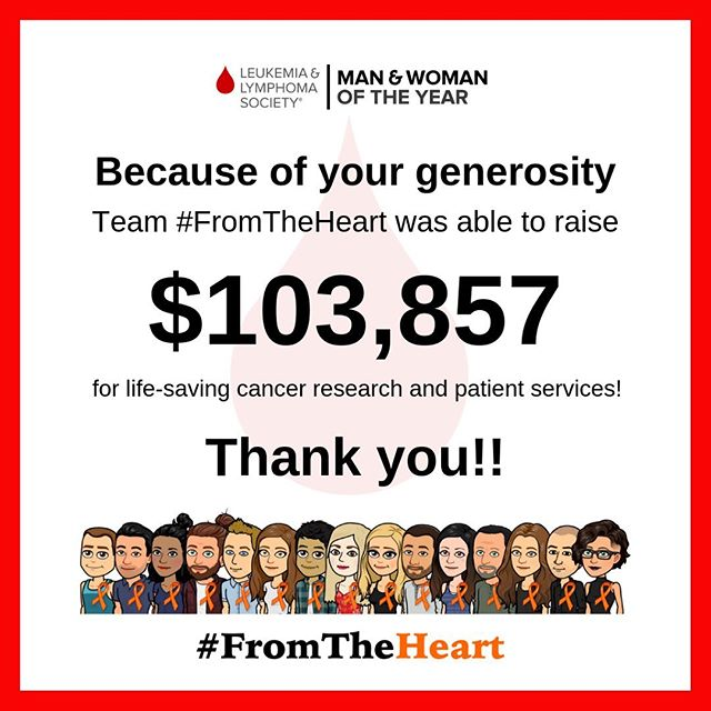 Over the past 10 weeks, Team #FromTheHeart was on a mission to raise at least $100,000 for The Leukemia & Lymphoma Society. Last night at the Grand Finale Gala, we found out that we raised $103,857 for LLS!!!! Thank you so much to the nearly 500 people who so generously donated and supported this campaign. I am truly at a loss of words! And thank you to every single #FromTheHeart team member for your hard work, passion, and dedication to this campaign over the last 10 weeks. I love you all soooo much!!! ❤️🙏❤️