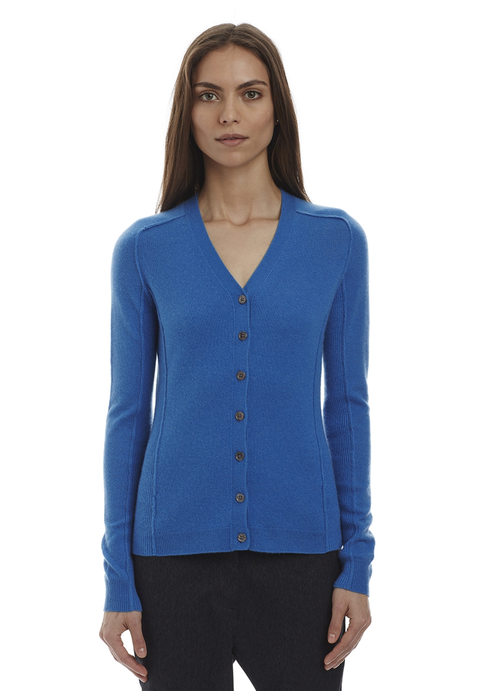 Cashmere Stretch V-Cardi . Was $428, now $128.40. More basic colors like black, grey and ivory are also included in the sale!