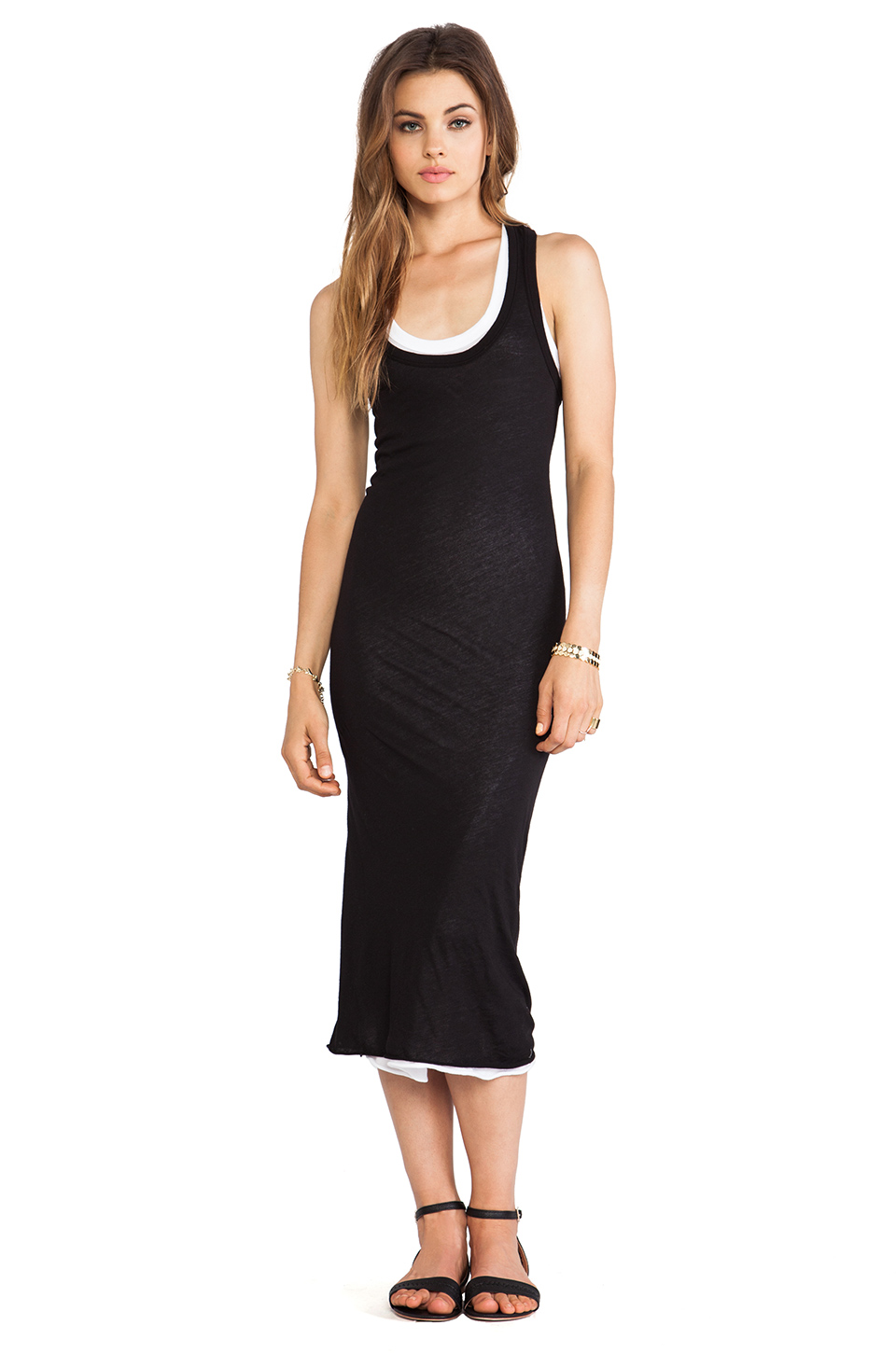 love that this dress is double layered for more interest than a plain black dress. Enza Costa, $162
