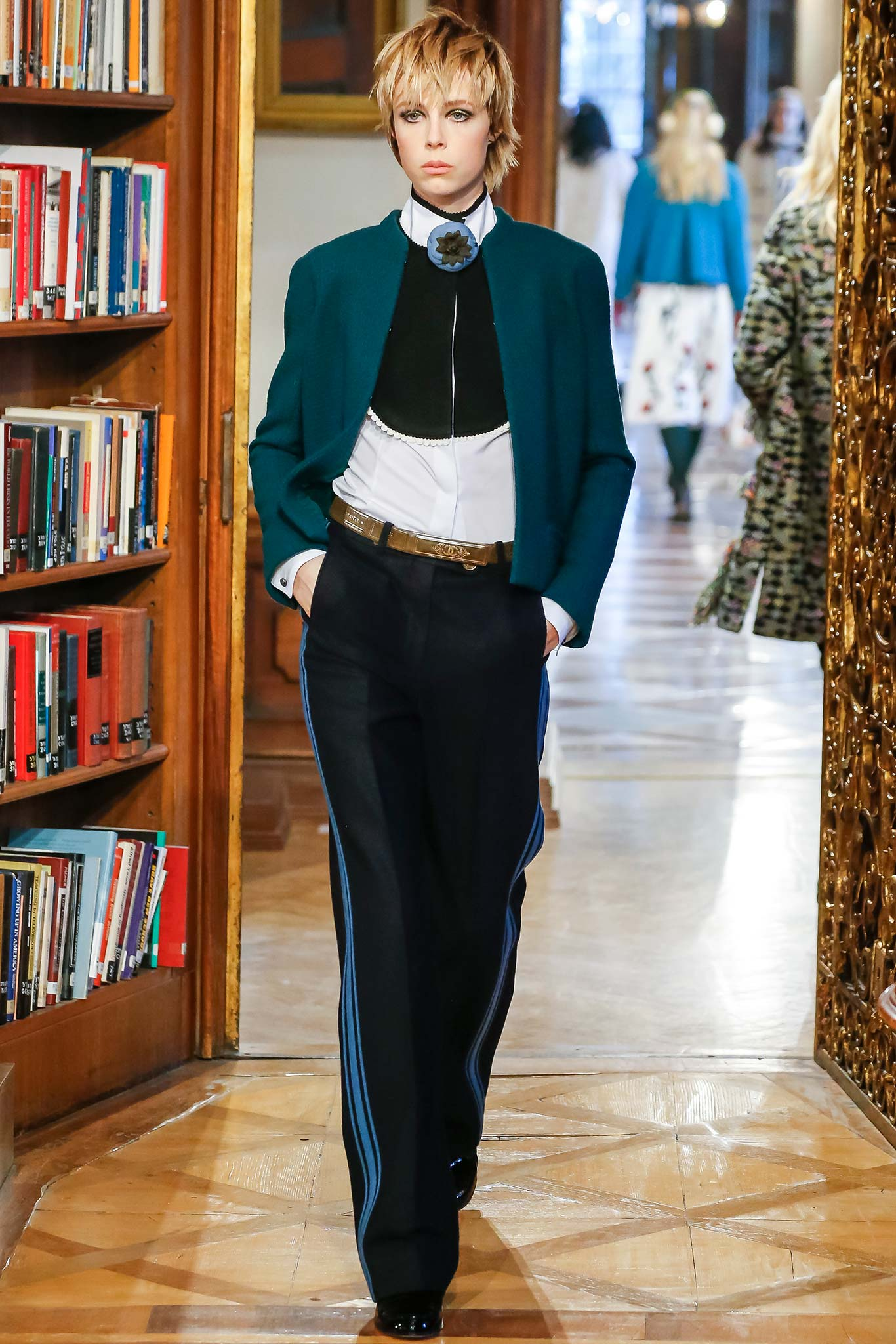 Tuxedo stripe trousers at Chanel.  Style.com
