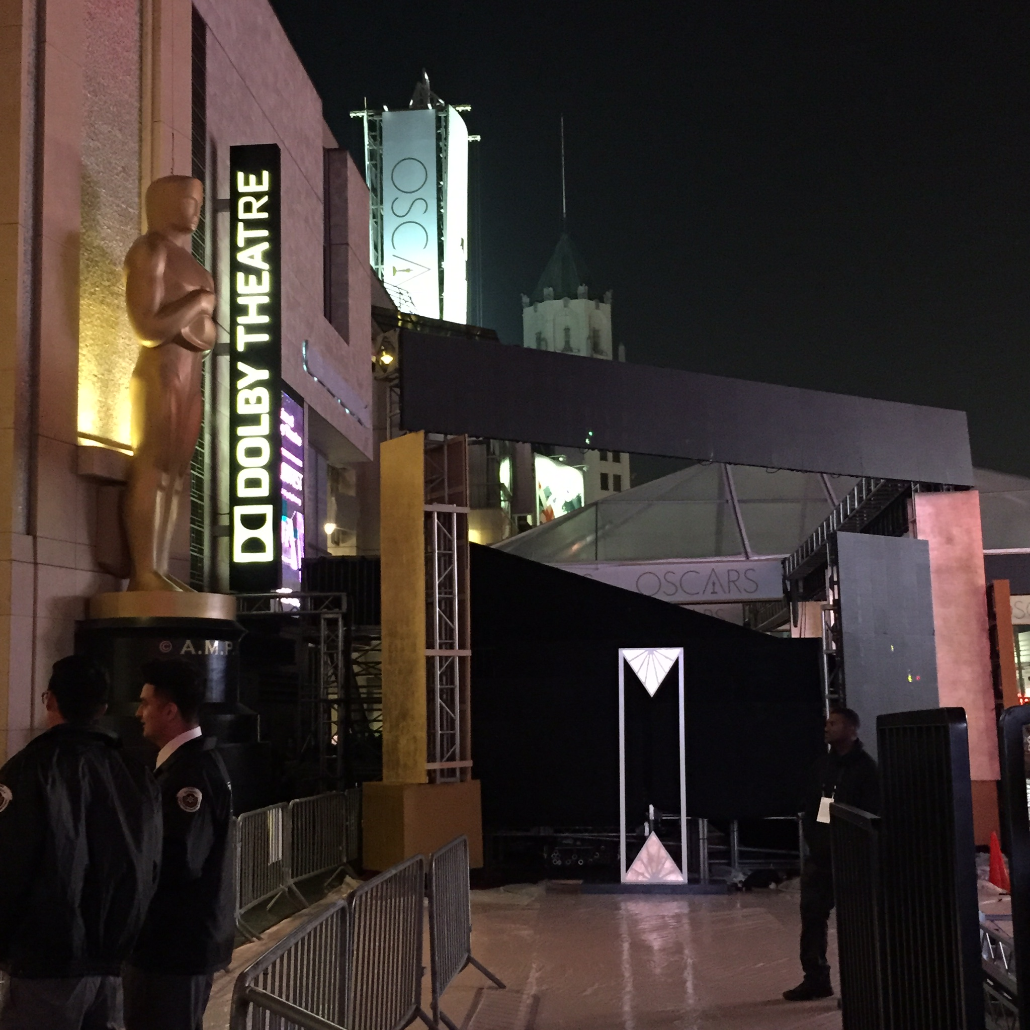 Oscars set up in progress at the Dolby Theater.