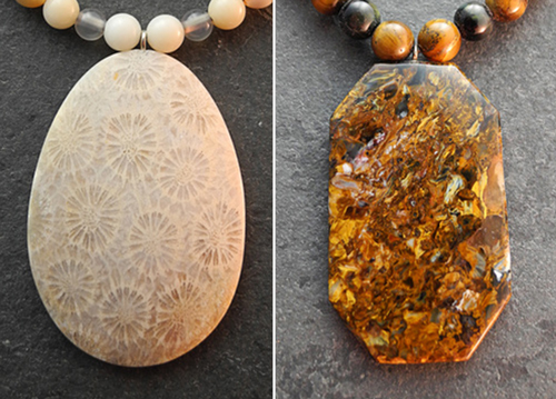 Steinketten und Ohrringe