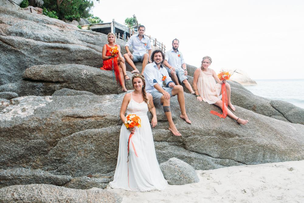 bridal party on beach haad yuan, thailand wedding
