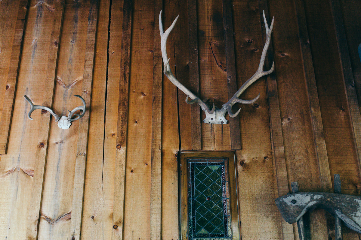 The wall decorations in a cabin King Francis Park Forest Wedding Ceremony Vancouver Island