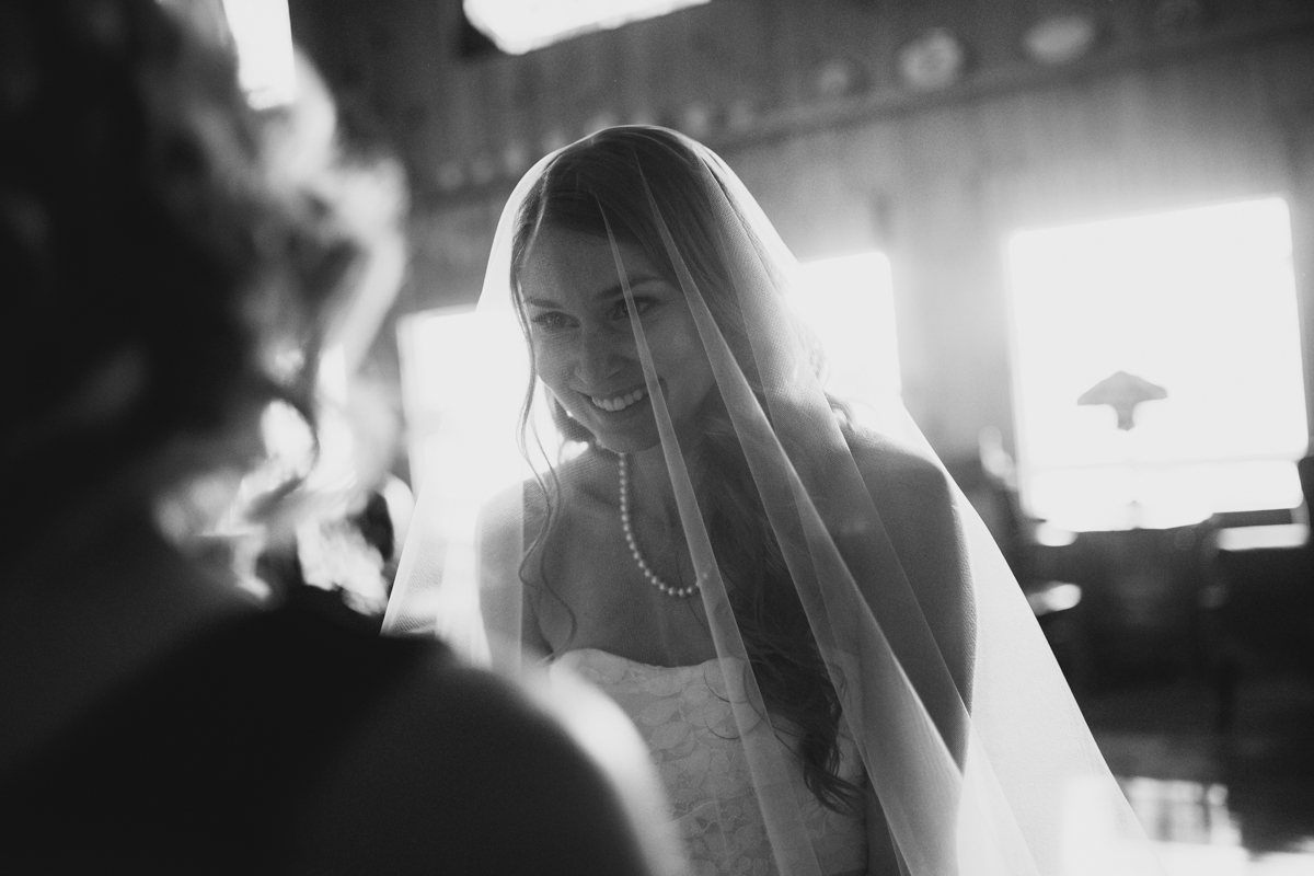 Black and White photo of the Bride King Francis Park Forest Wedding Ceremony Vancouver Island
