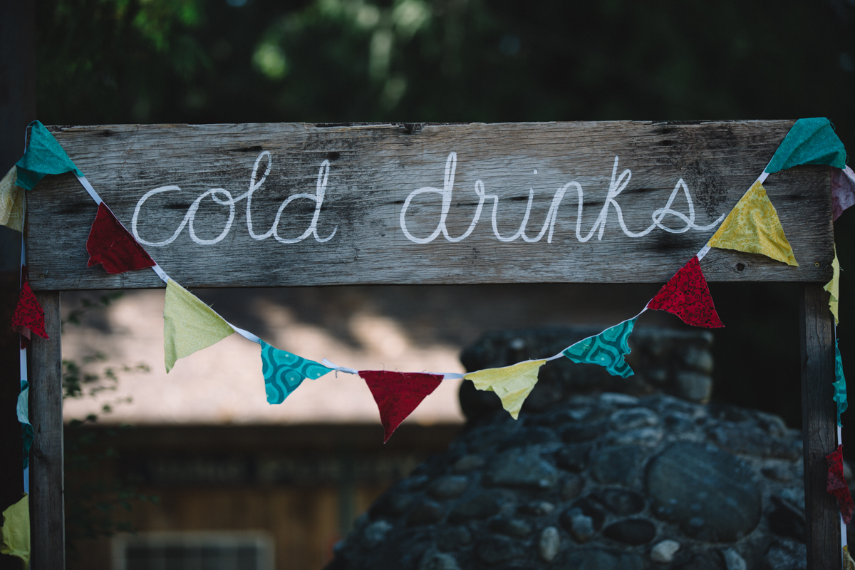 Cold Drinks sign board at the wedding reception The Guild King Francis Park Forest Wedding Vancouver Island