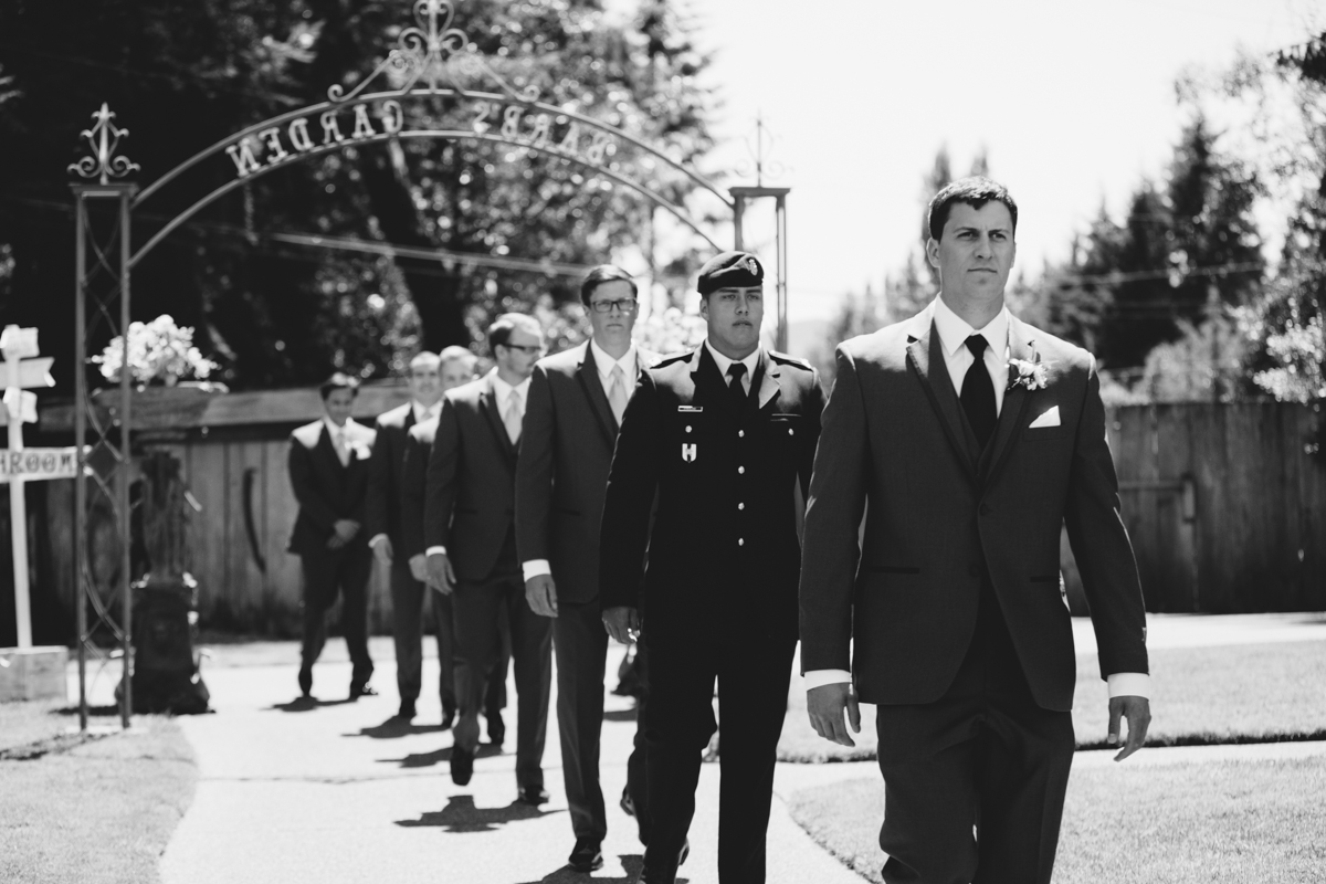 The Groom and Groomsmen walking King Francis Park Forest Wedding Ceremony Vancouver Island