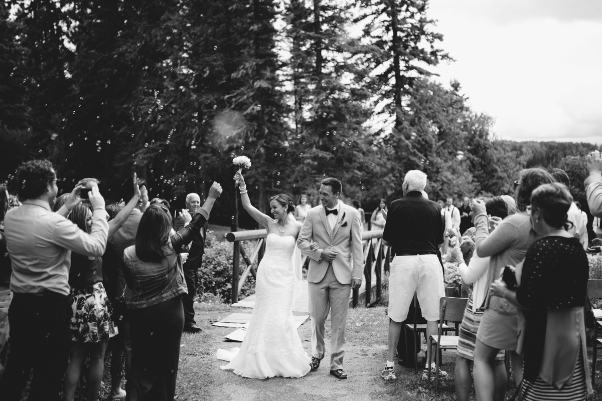 Newly wed couple Bride and Groom Provincial Park wedding ceremony Clear Lake Manitoba