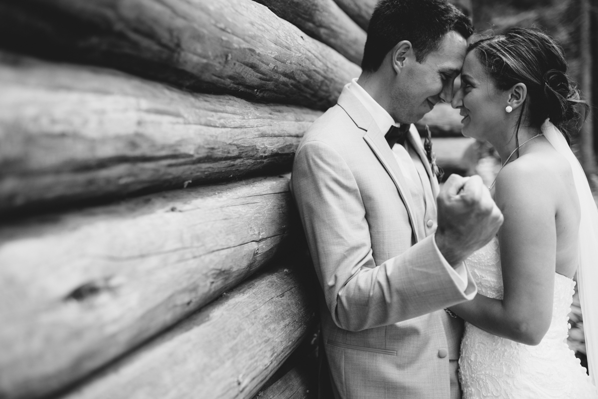 Newly wed couple Bride and Groom in a cabin Provincial Park wedding Clear Lake Manitoba