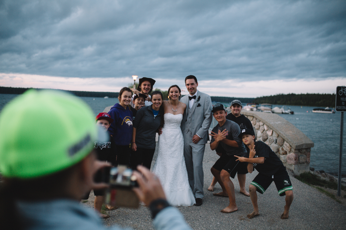 Picture taking with the Bride and Groom newly wed couple Provincial Park wedding Clear Lake Manitoba