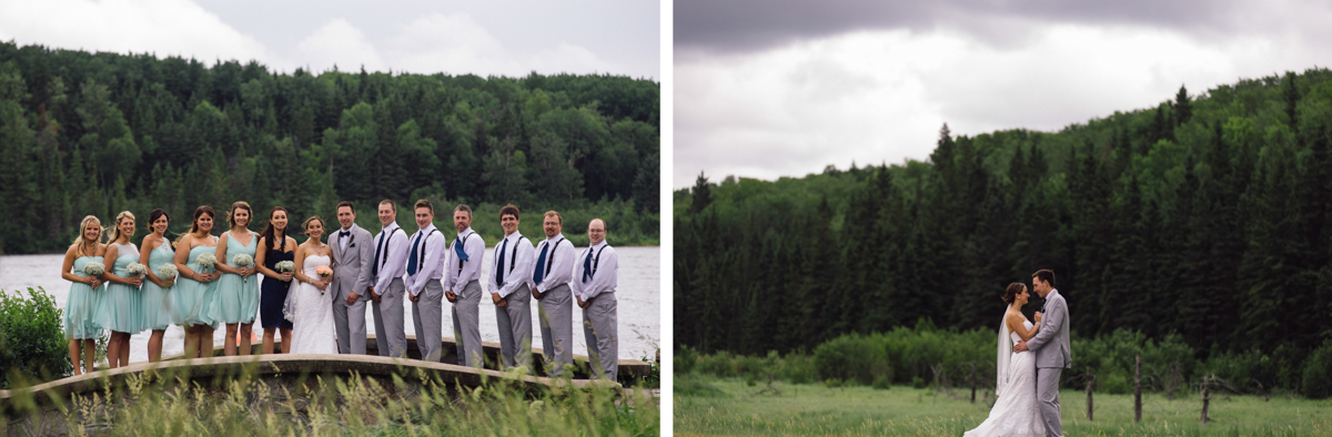Bride and Groom with Bride's maid and Groom's Men Provincial Park wedding ceremony Clear Lake Manitoba