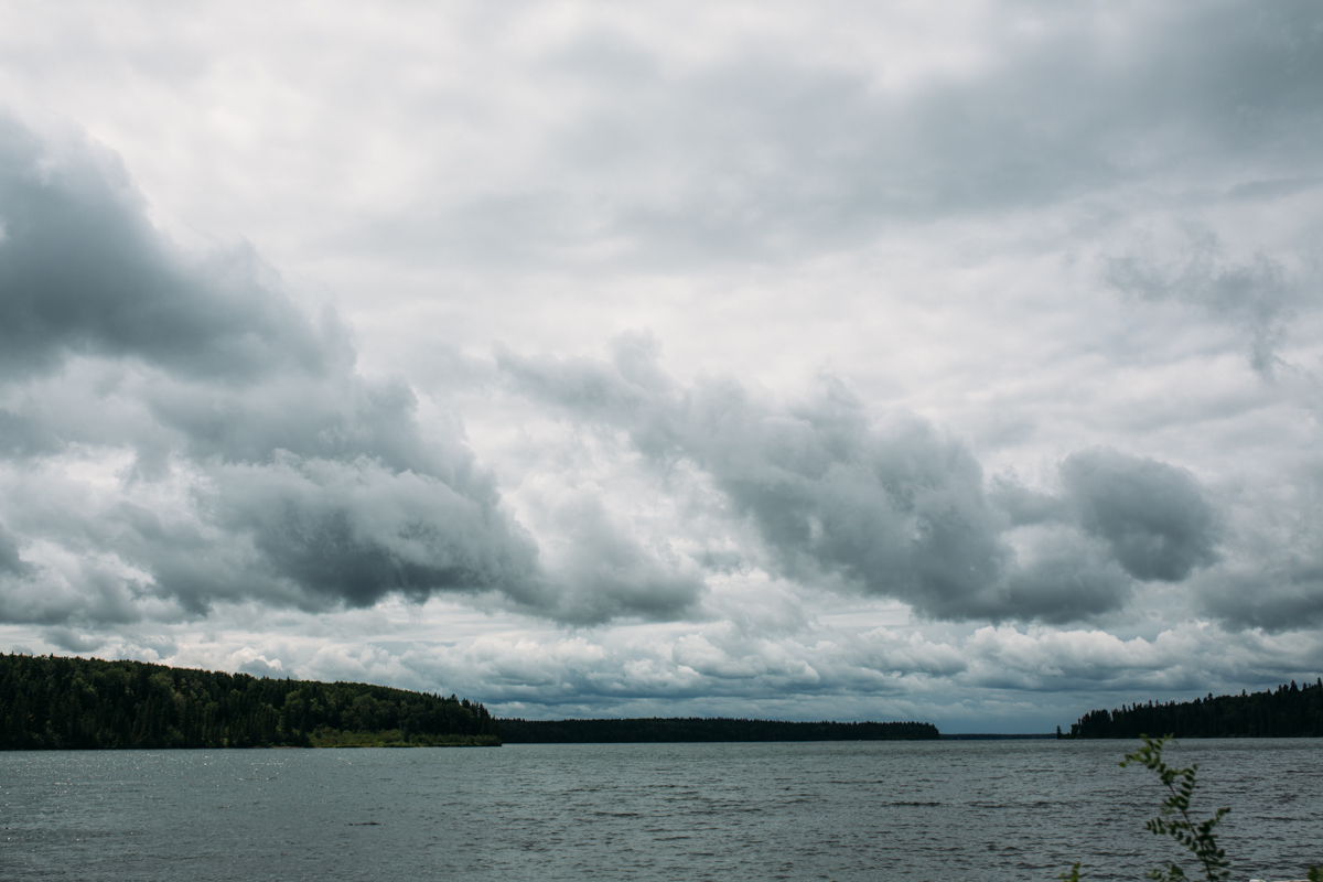 Cloudy weather Provincial Park wedding ceremony Clear Lake Manitoba