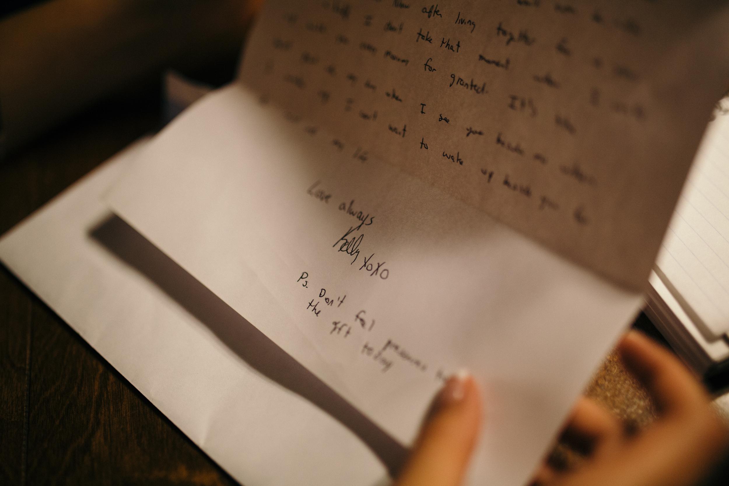 Wedding letter bride and groom vows Victoria destination wedding - Clear Lake Manitoba