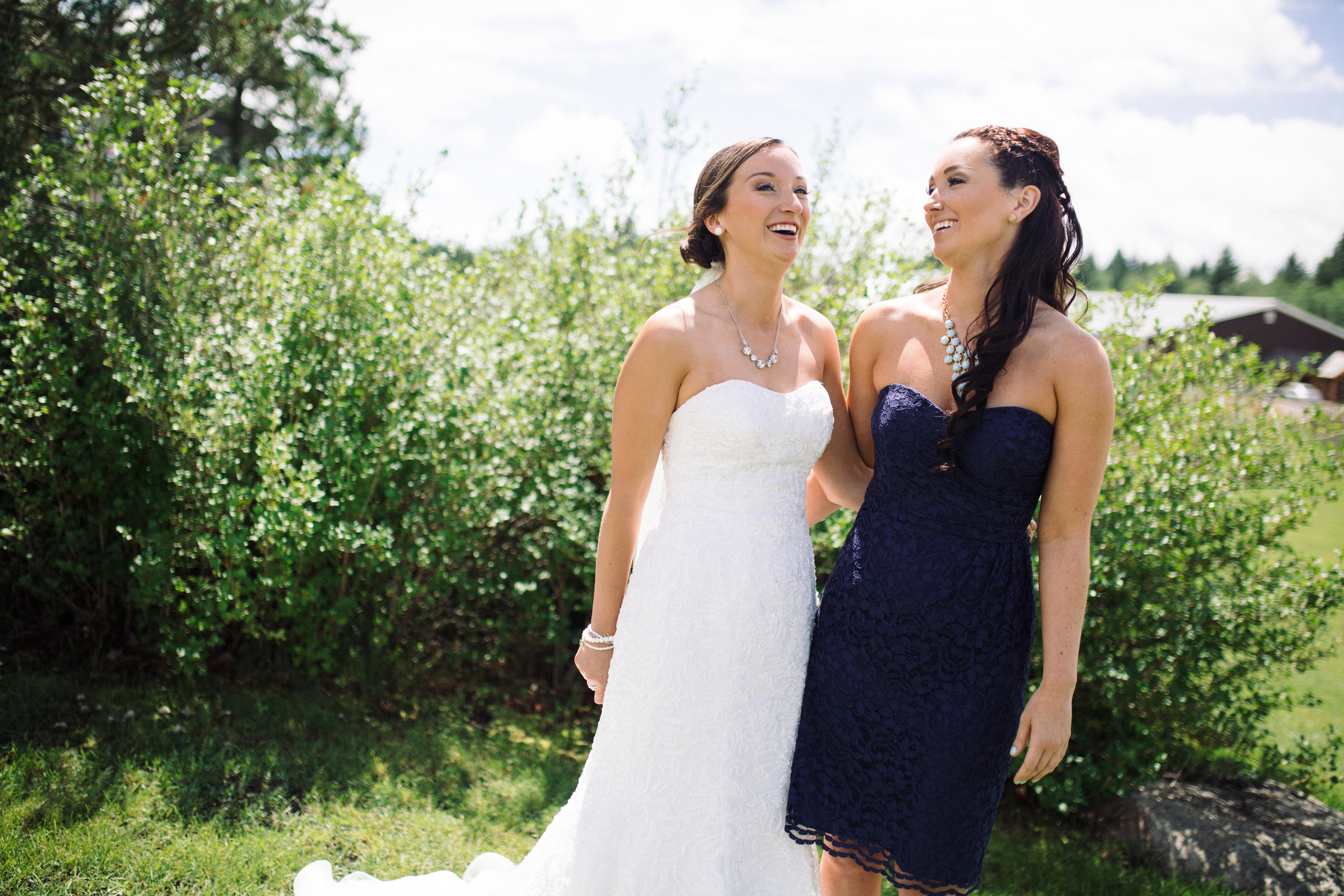 Bride and her maid of honor Provincial Park wedding Clear Lake Manitoba
