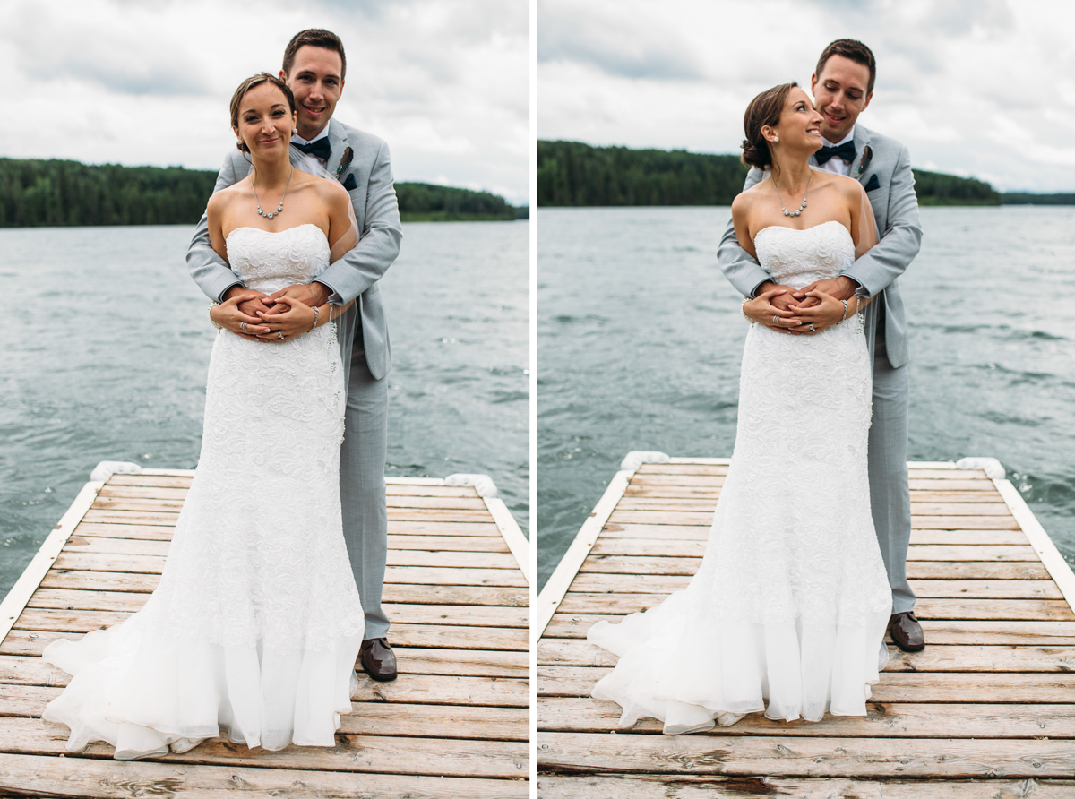 Happy newly weds Bride and Groom Provincial Park Clear Lake Manitoba wedding