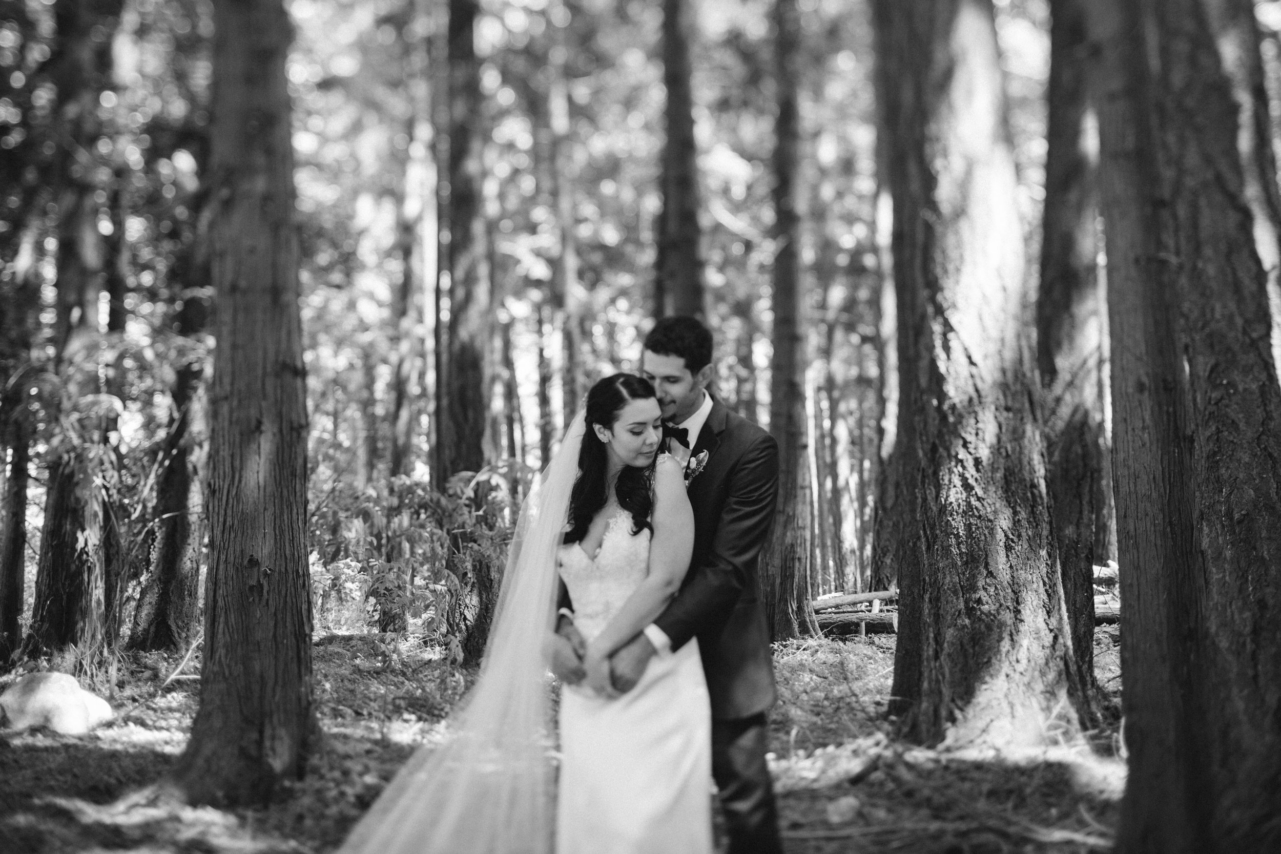Forest wedding Bride and Groom holding each other Sea Cider Tofino Vancouver Island