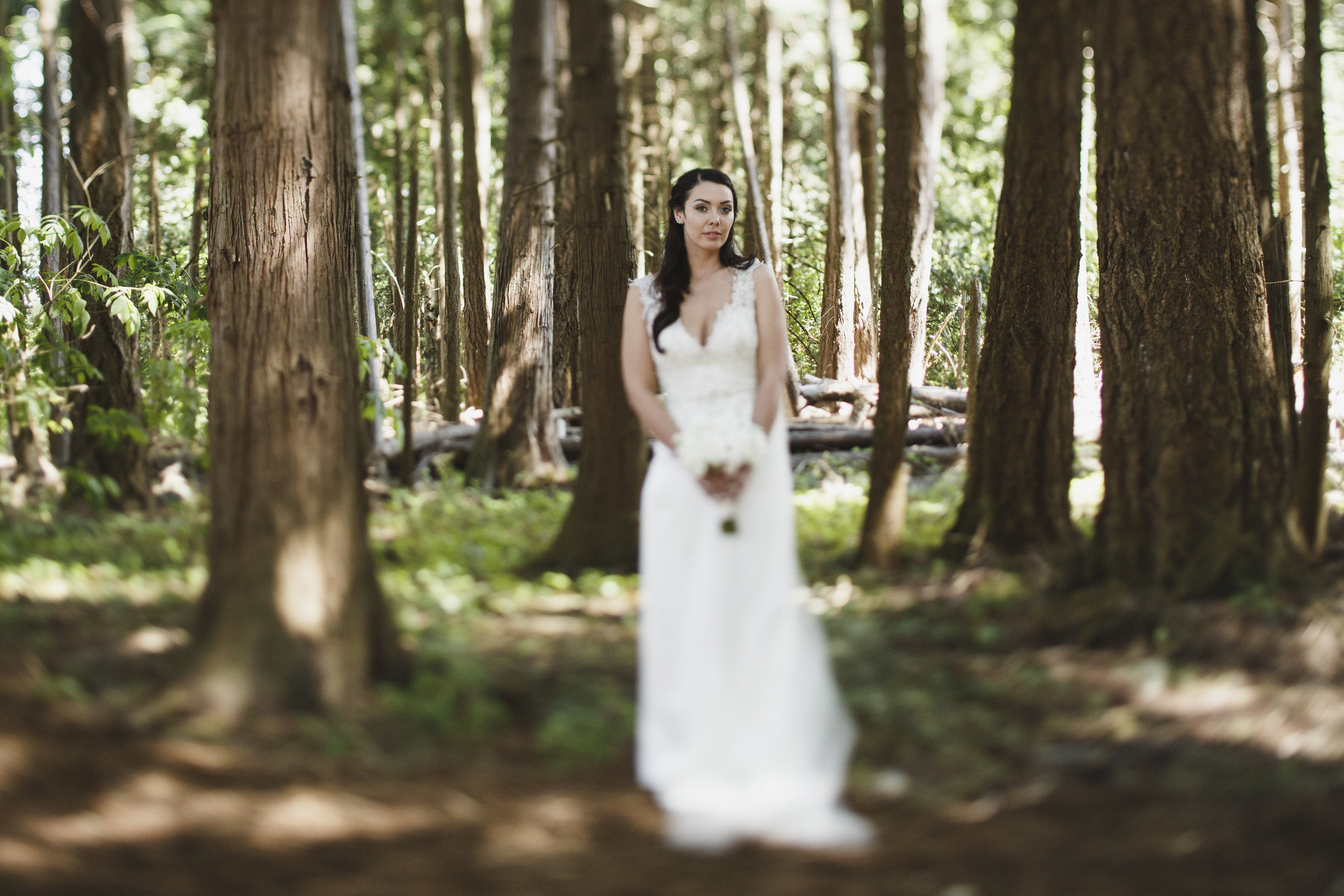 The bride in her wedding day Forest wedding Tofino Sea Cider Vancouver Island