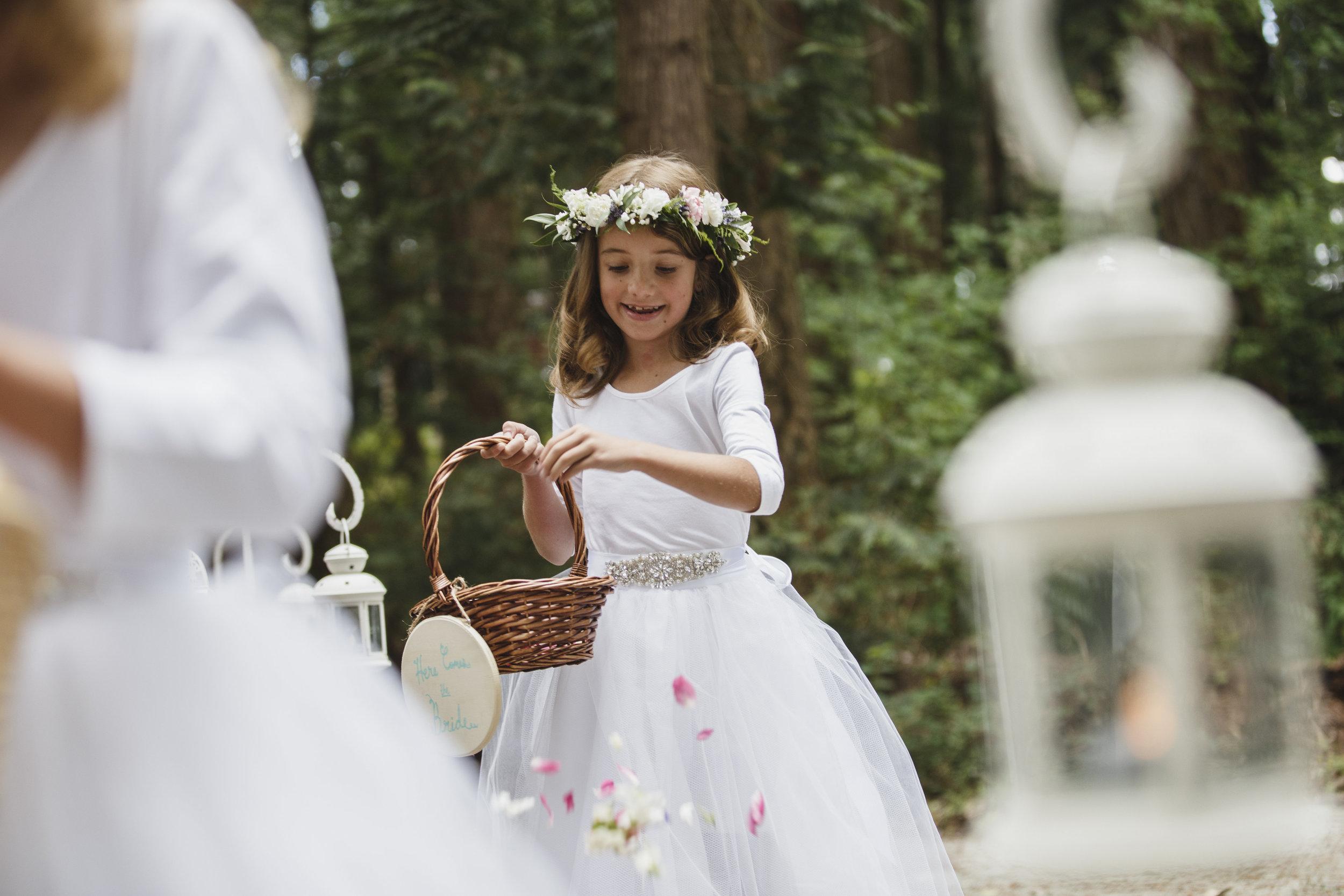 flower girl forest wedding ceremony Sea Cider Tofino Vancouver Island
