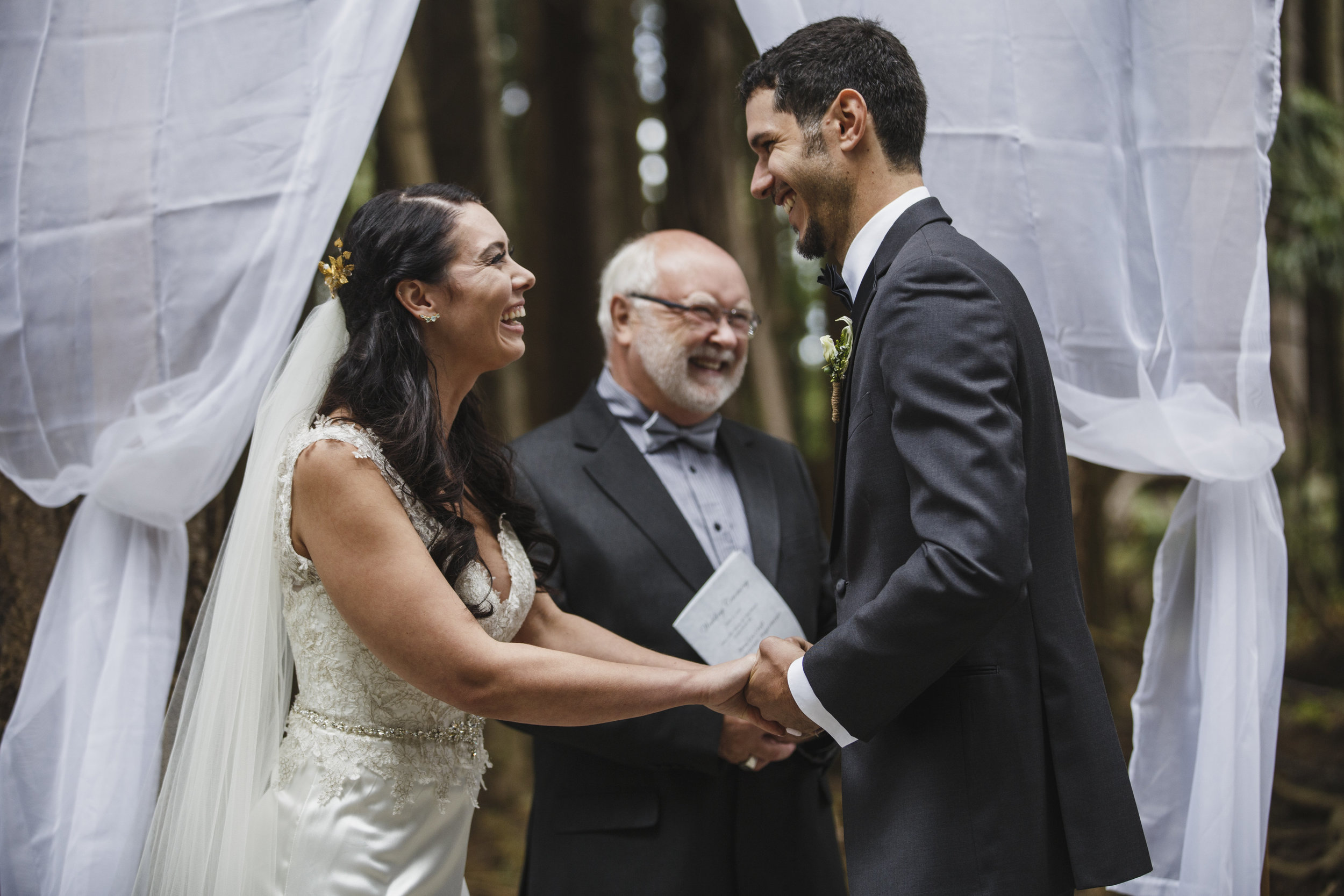 Bride and groom looks at each other happily, Forest Wedding Tofino Sea Cider Vancouver Island