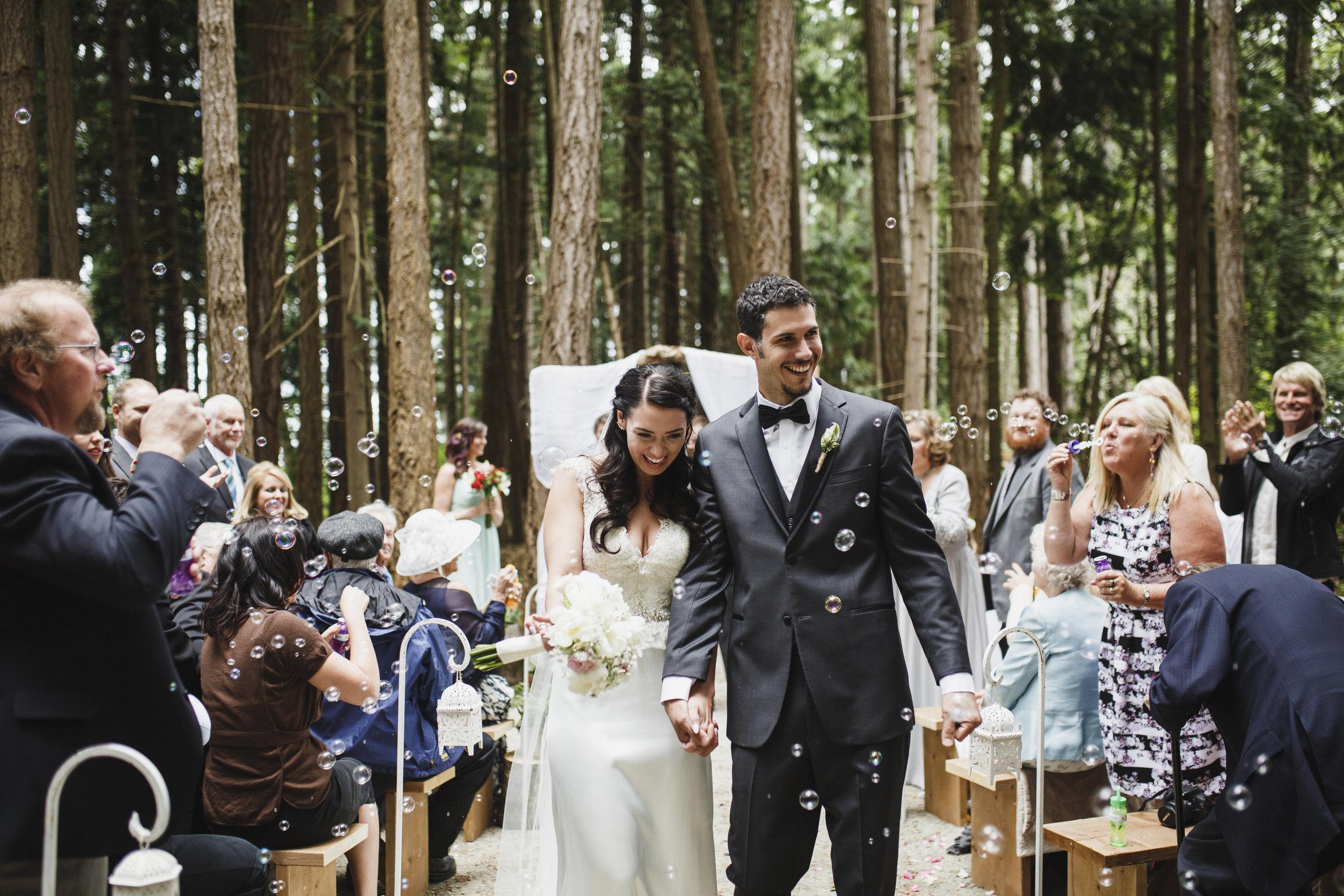 Everyone congratulates the Bride and the Groom Forest wedding Tofino Sea Cider Vancouver Island