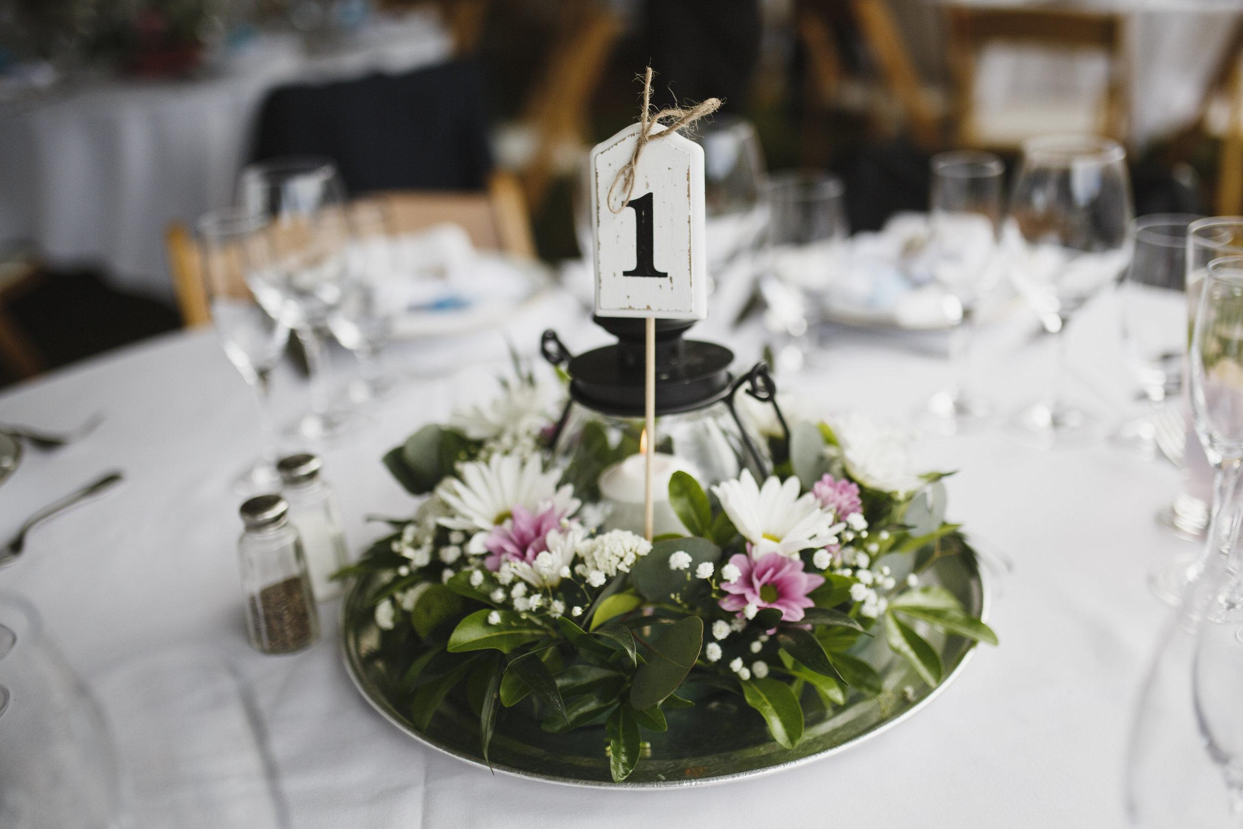 The table at the reception Beach wedding Tofino Sea Cider Vancouver Island