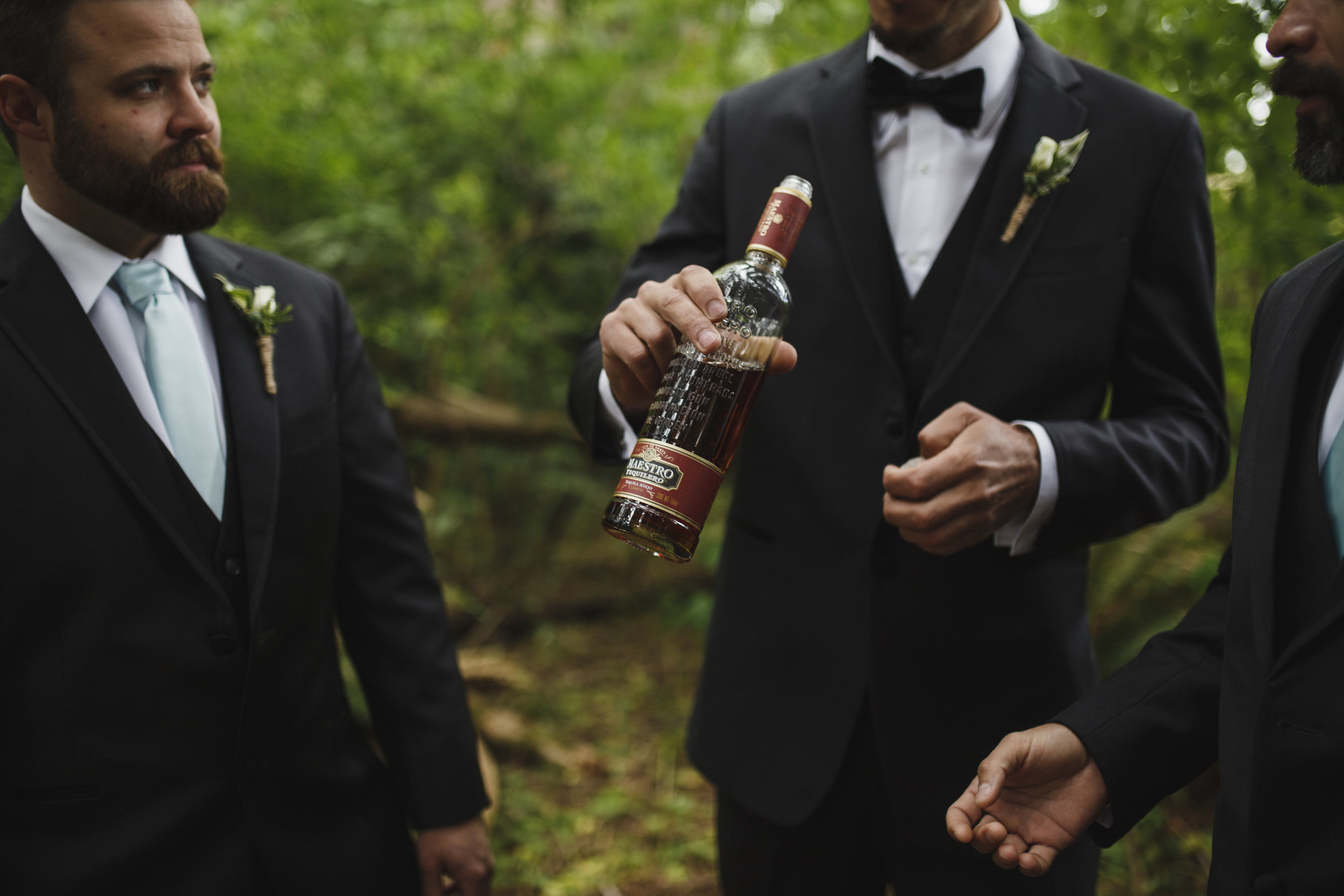 Groomsmen with the groom forest wedding Tofino Sea Cider Vancouver Island