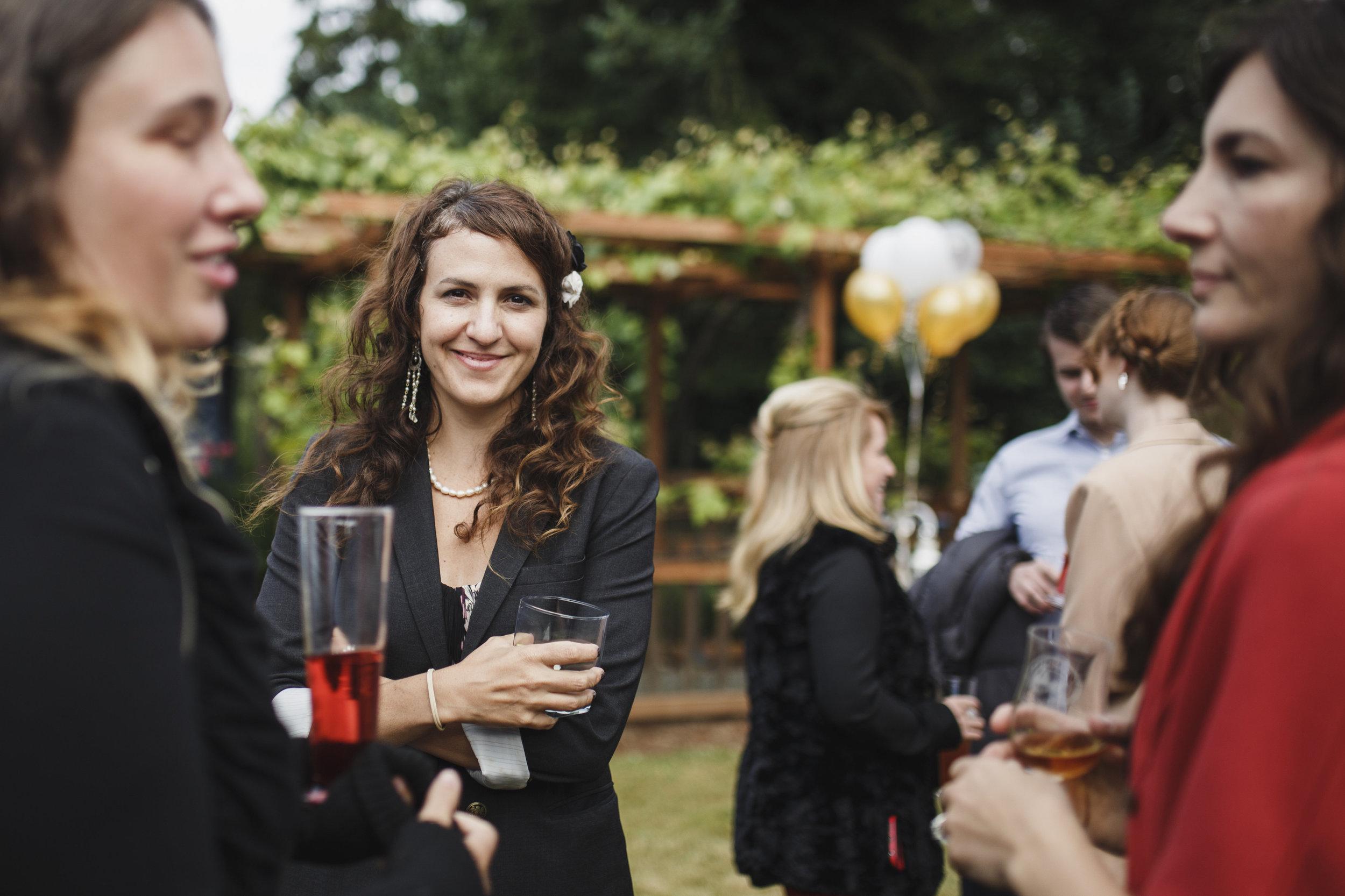 Guests talking Beach wedding Tofino Sea Cider Vancouver Island
