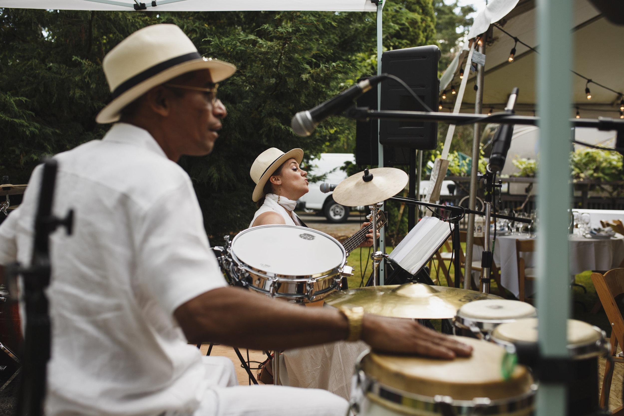 A band playing Beach Wedding reception Tofino Sea Cider Vancouver Island